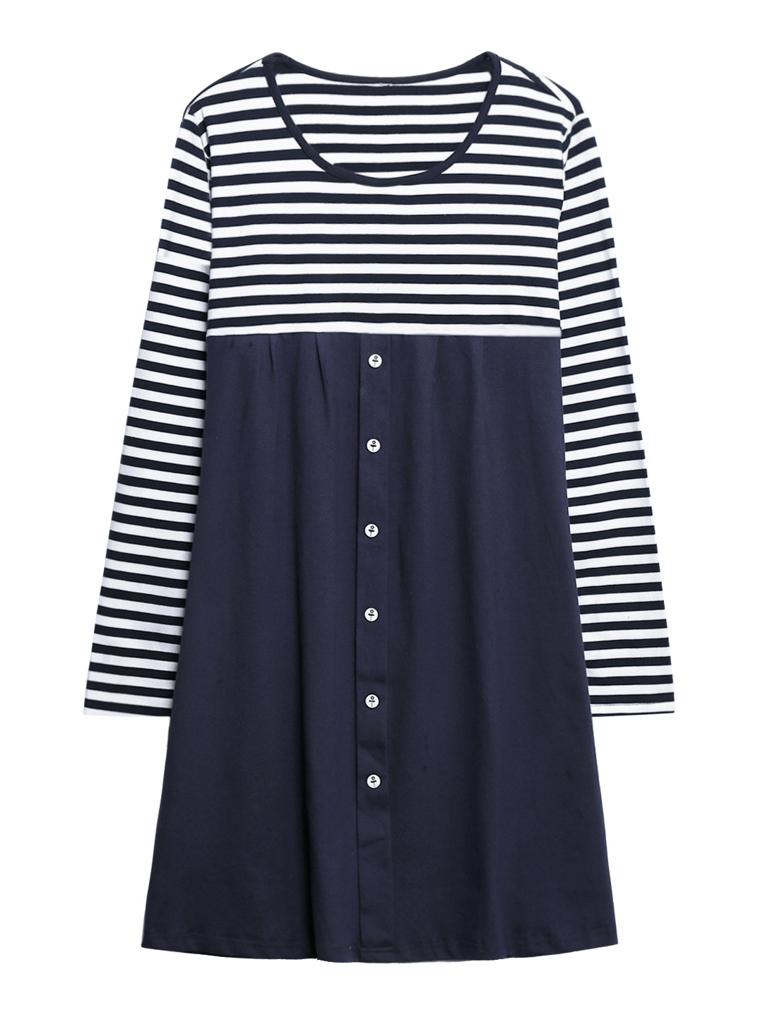 Maternity Round Neck Long Sleeves Stripes Panel Design Tunic Dress Blue M