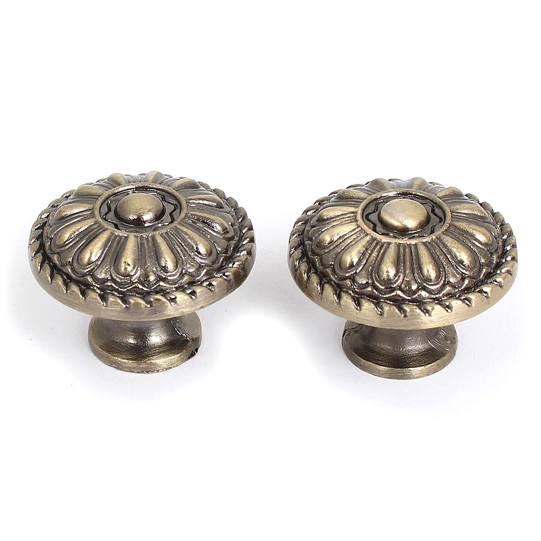 32mm Dia Metal Pull Knob Handle Bronze Tone 2pcs for Cabinet Door Drawer