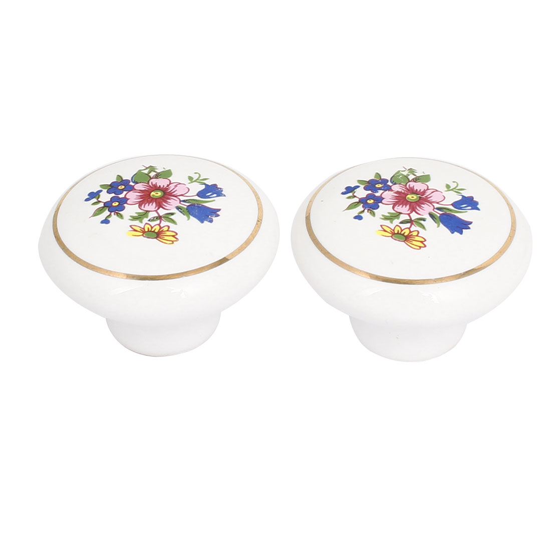 38mm Dia Flower Prints Ceramic Pull Knob Handle White 2pcs for Cabinet Door Drawer