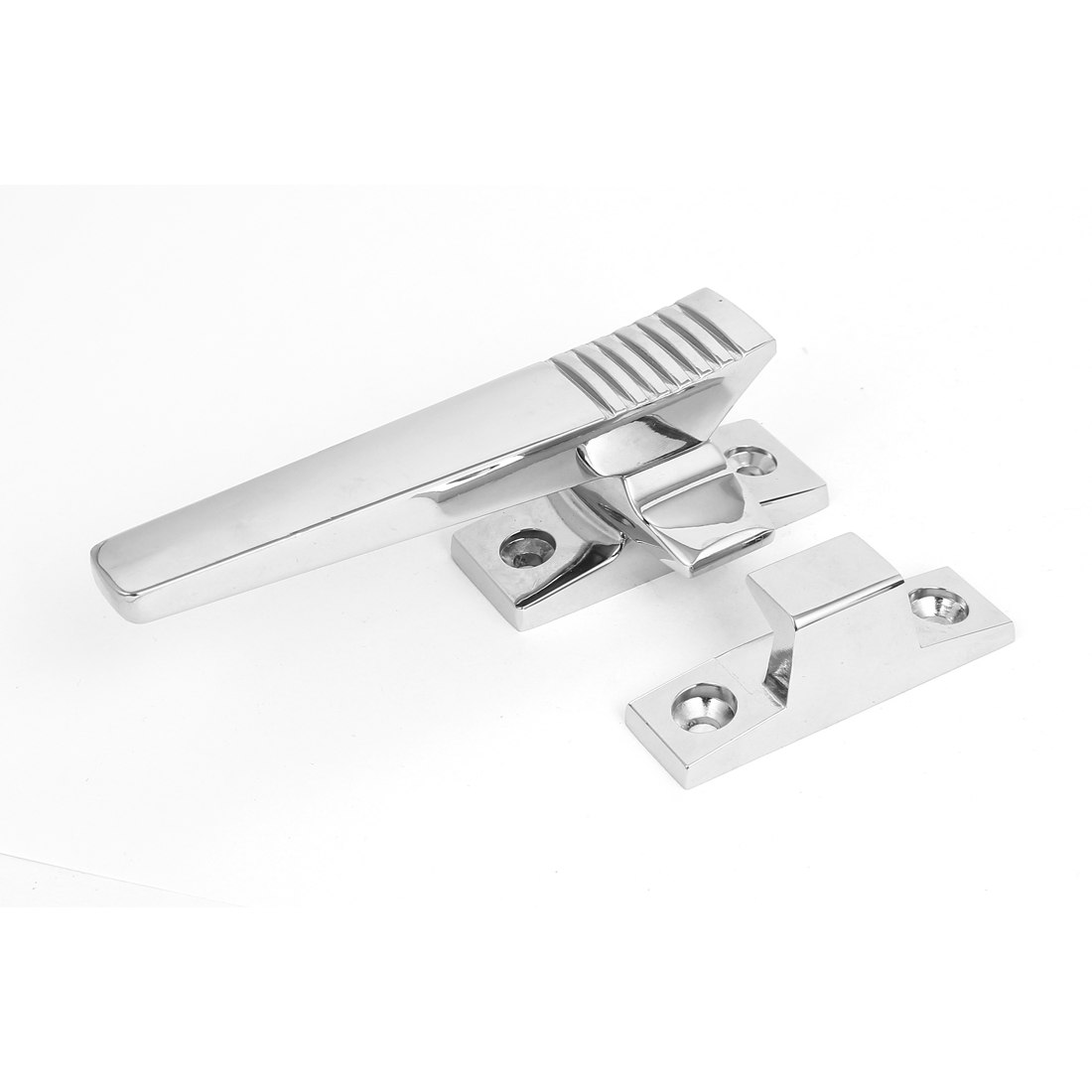 Window Door Metal Level Pull Locking Adjustable Handle Silver Tone