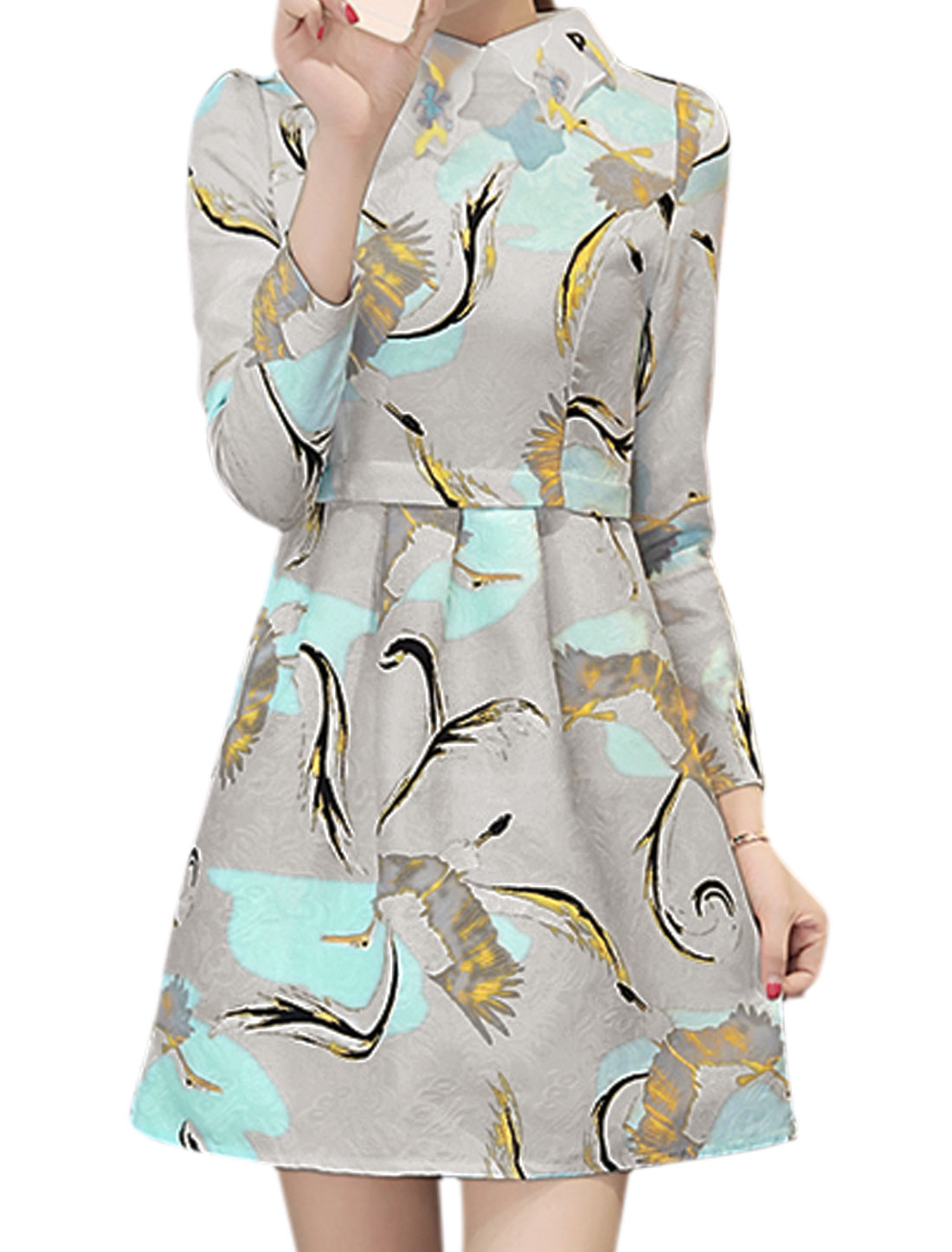 Lady Birds Flower Embossed Pattern Turn Down Collar Dress Gray M