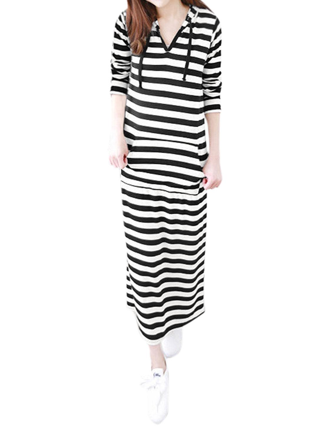 Women Drawstring Hood Long Sleeves Kangaroo Pocket Stripes Dress Black White M