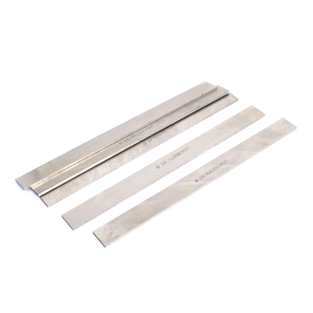 Rectangle Shape Lathe HSS Tool Bit Silver Tone 2mm x 16mm x 200mm 5pcs