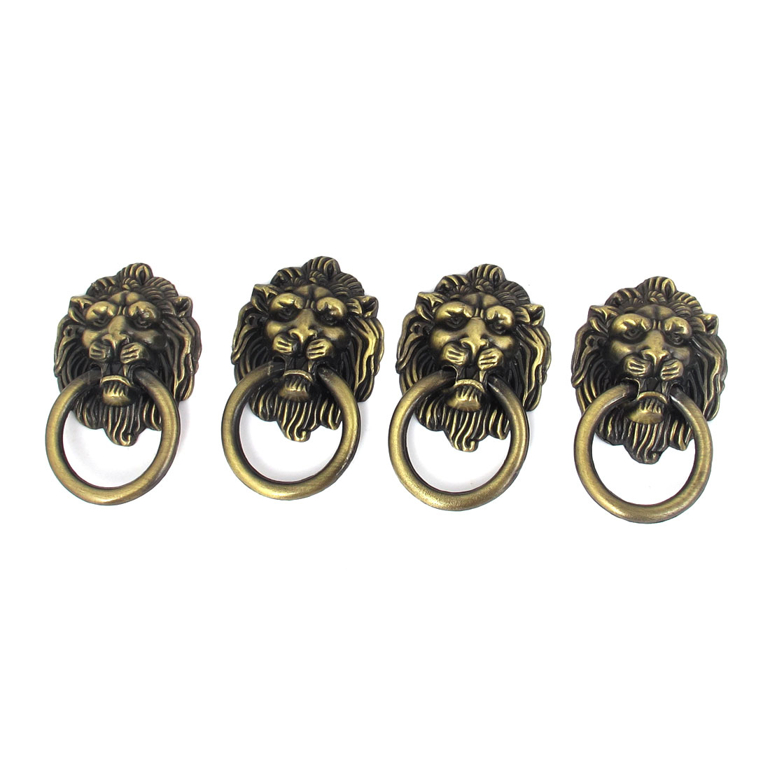 Lion Head Shape Zinc Alloy Pull Knobs Handle 4mm Male Thread Dia Bronze Tone 4 Pcs