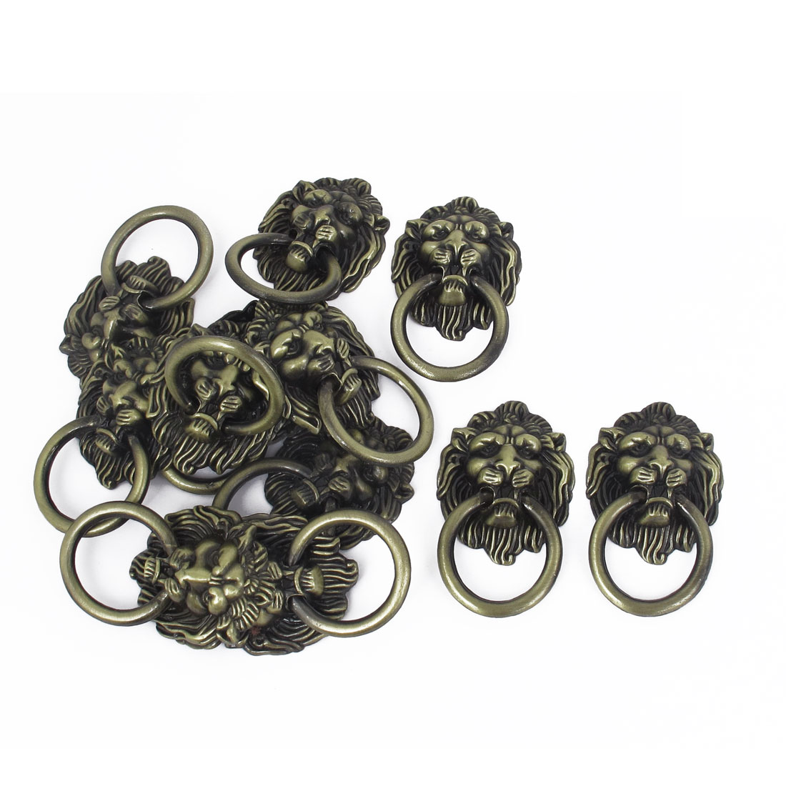 Lion Head Shape Metal Pull Knobs Handle 4mm Male Thread Dia Bronze Tone 12 Pcs