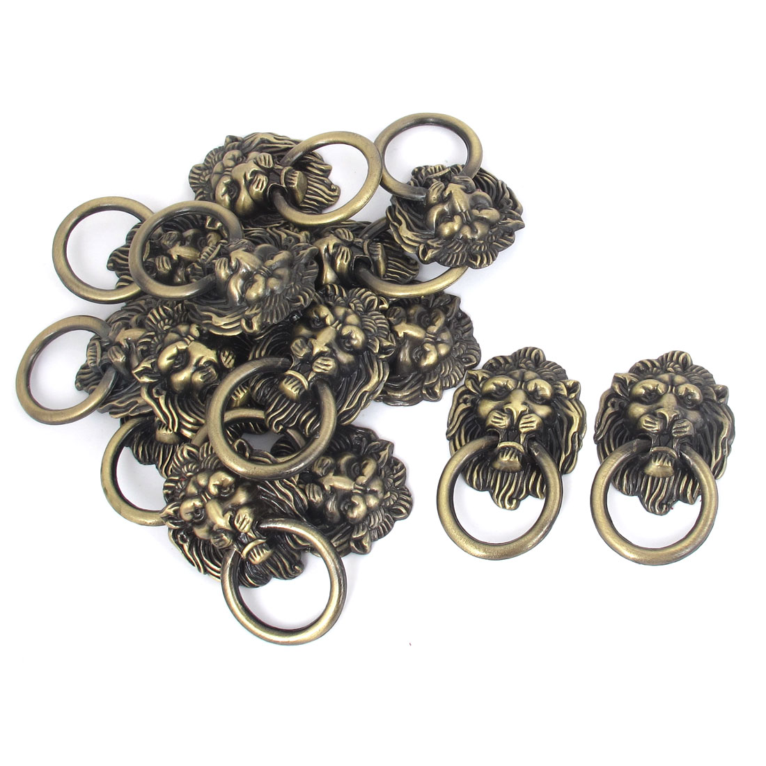 Lion Head Shape Zinc Alloy Pull Knobs Door Handle Bronze Tone 15 Pcs