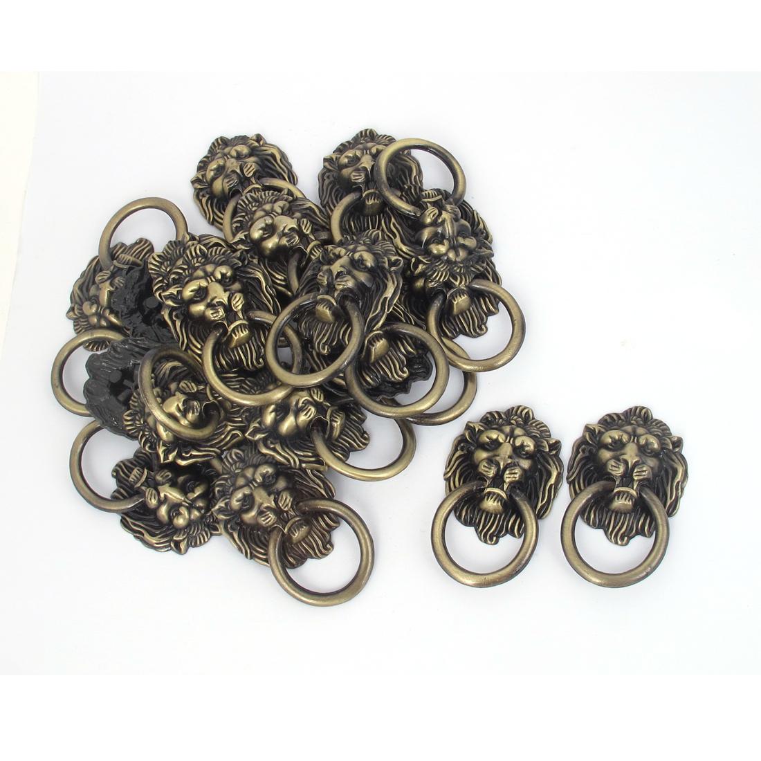 Lion Head Shape 4mm Male Thread Dia Zinc Alloy Door Handle Bronze Tone 20 Pcs