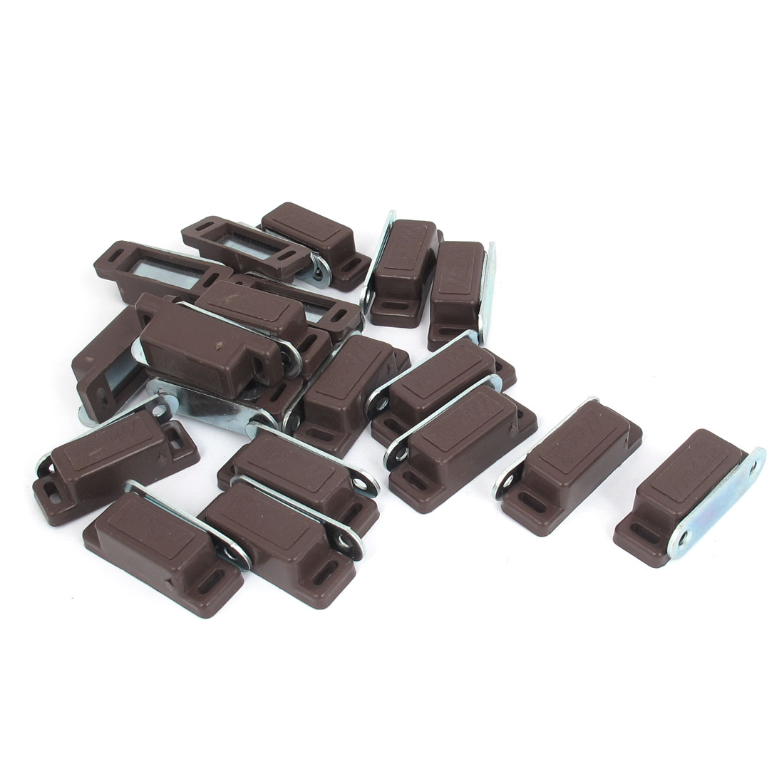 Cabinet Door Plastic Magnetic Catch Latch Brown 46mm Length 20pcs