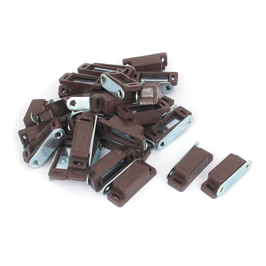 Cabinet Door Plastic Magnetic Catch Latch Brown 46mm Length 30pcs