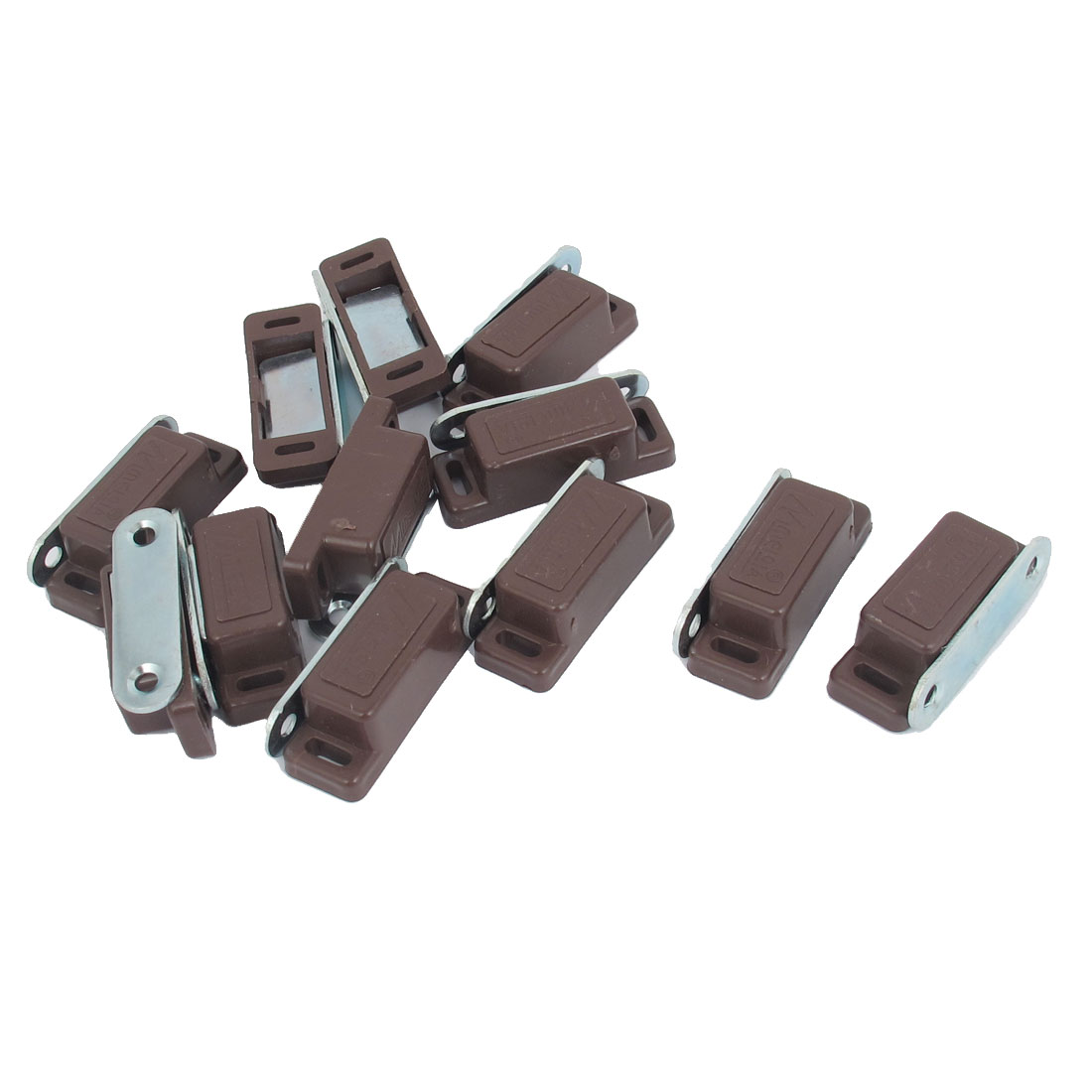Door Cabinet Cupboard Furniture Brown Plastic Shell Magnetic Catch Latch 12pcs