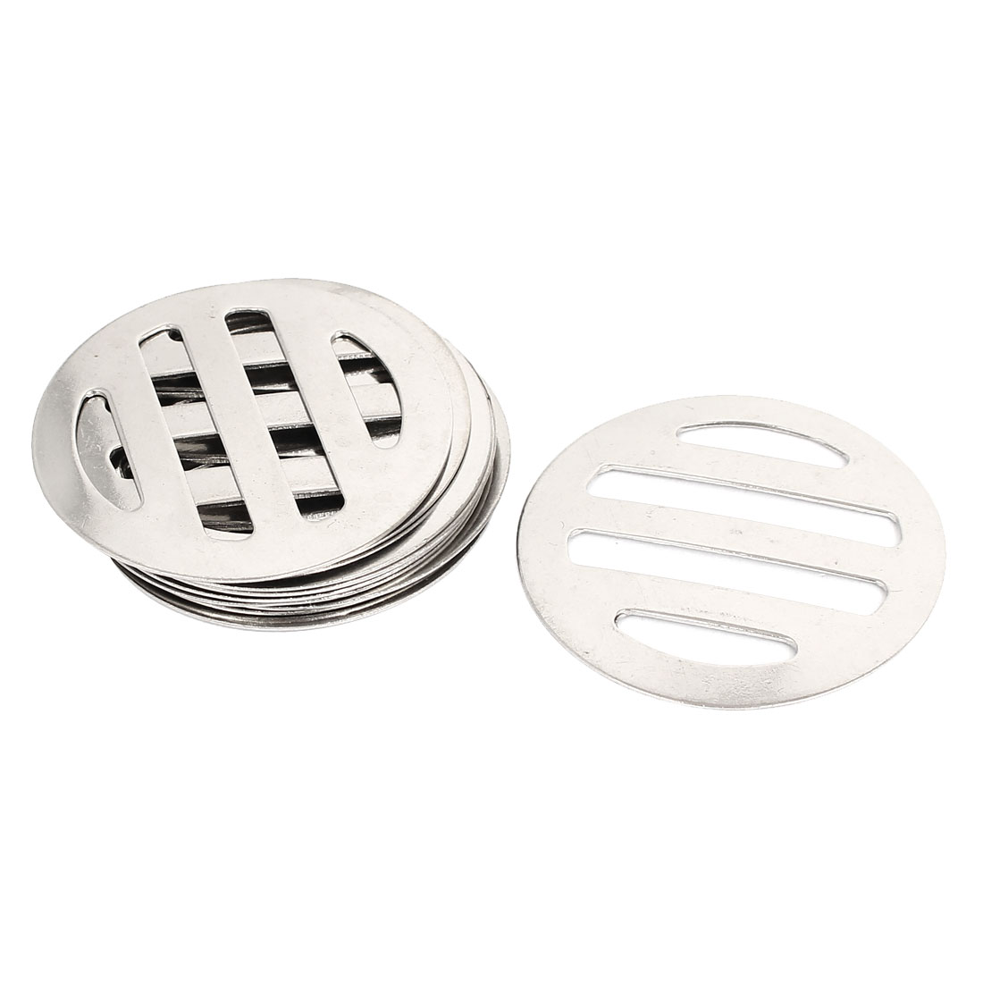 "10 Pcs 5cm 2"" Diameter Round Shape Metal Floor Drain Covers Silver Tone"