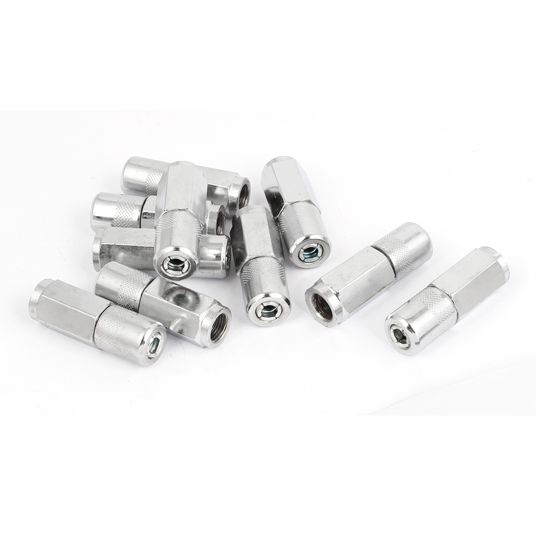 9mm Female Thread 4 Jaws Grease Gun Coupler Silver Tone 10 Pcs for Excavator