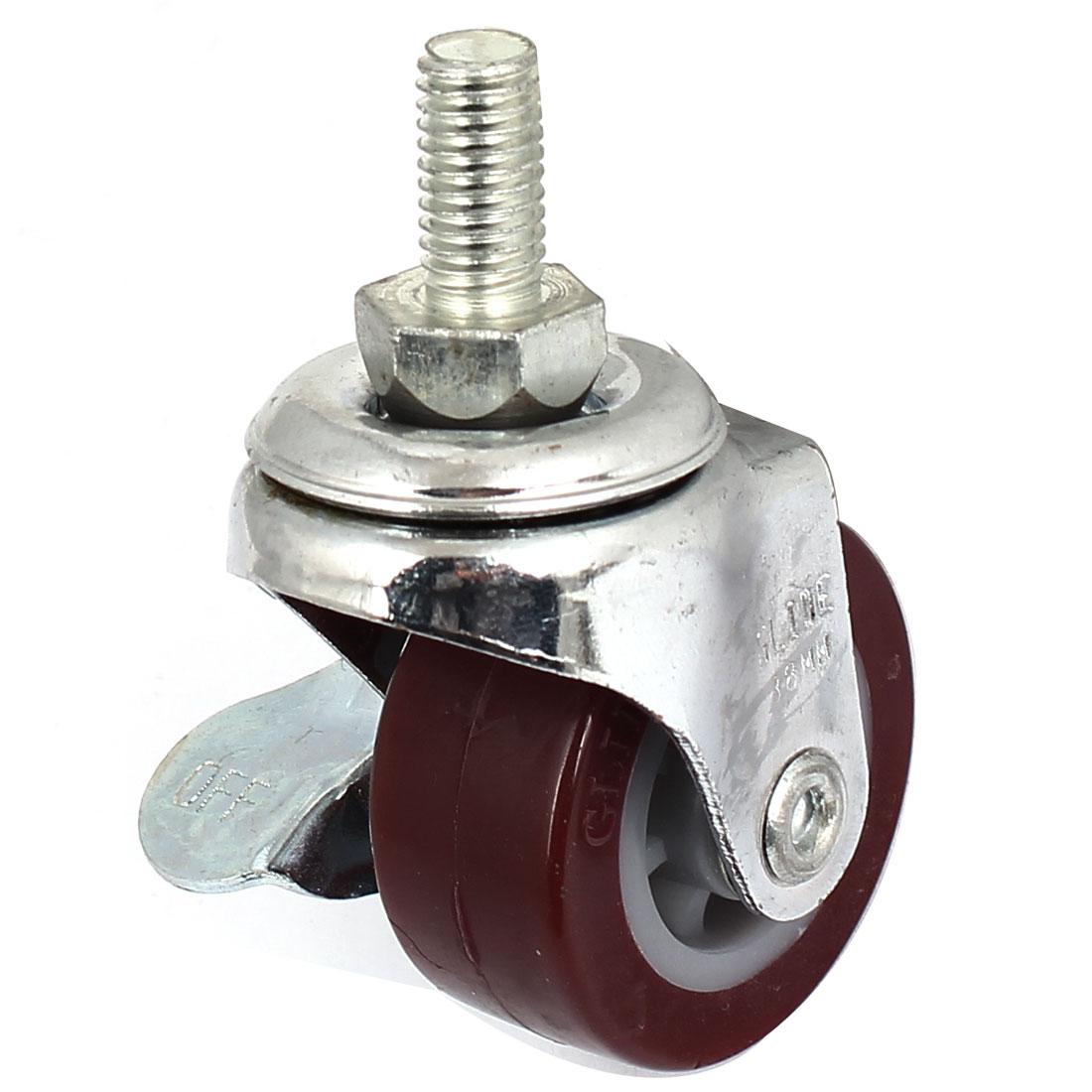 38mm Single Wheel 360 Degree Side Brake Threaded Stem Swivel Caster Burgundy