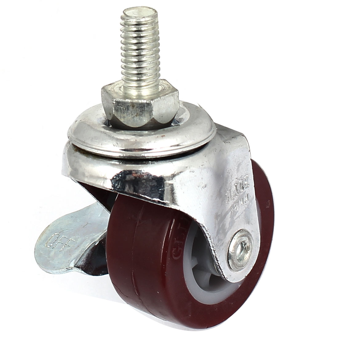 65mm Single Wheel 360 Degree Side Brake Threaded Stem Swivel Caster Burgundy