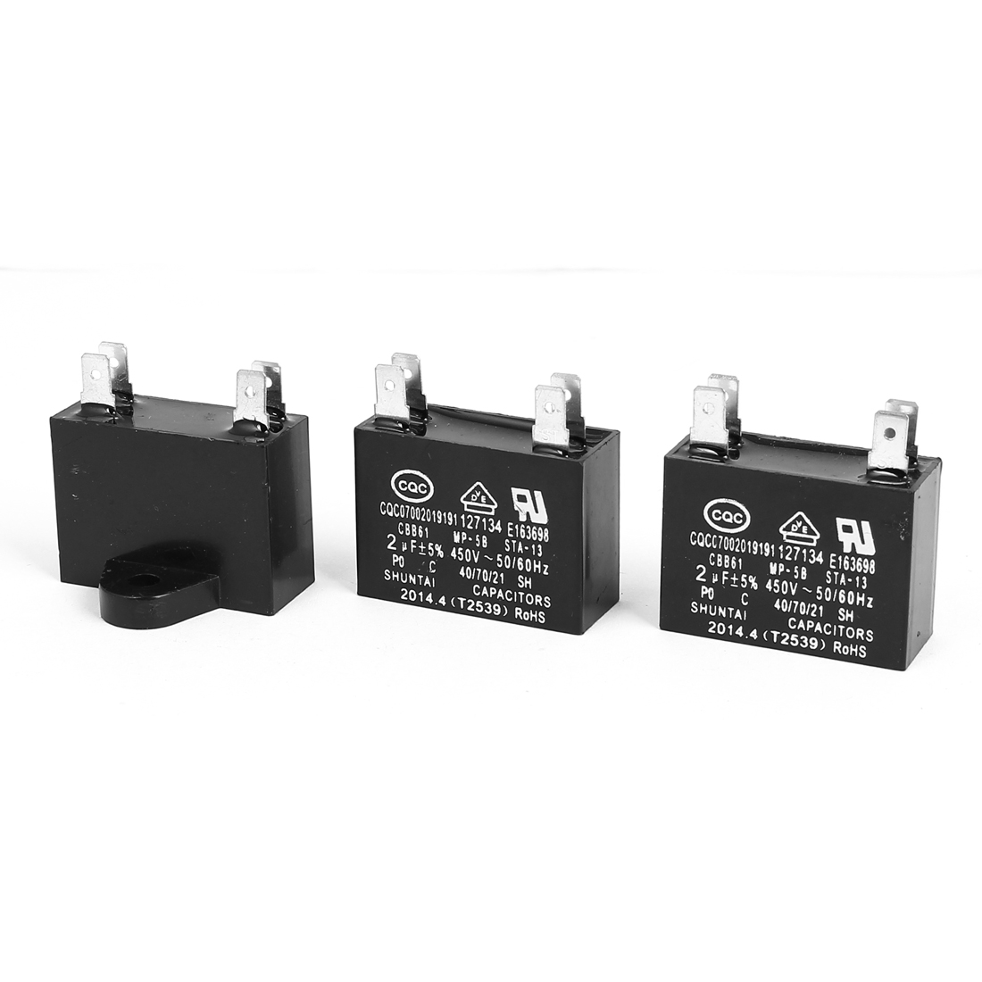 CBB61 2uF 450V AC 50/60Hz Air Conditioner Fan Motor Start Capacitor 3 Pcs