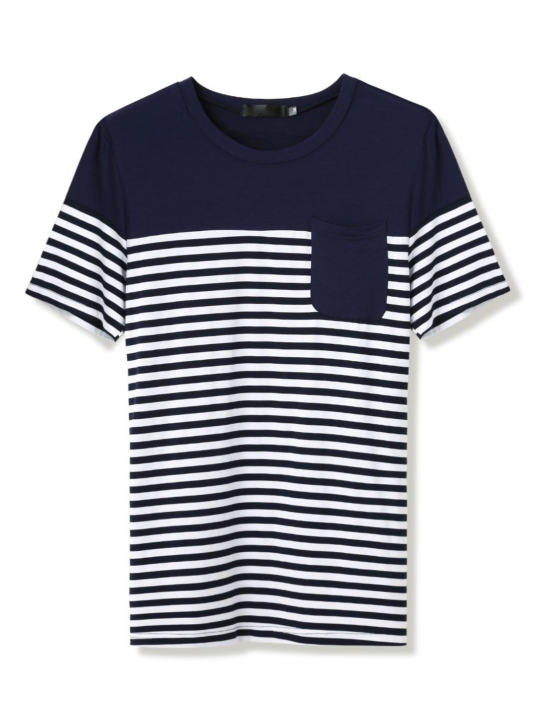 Men Round Neck Patch Pocket Striped Tee Navy Blue L