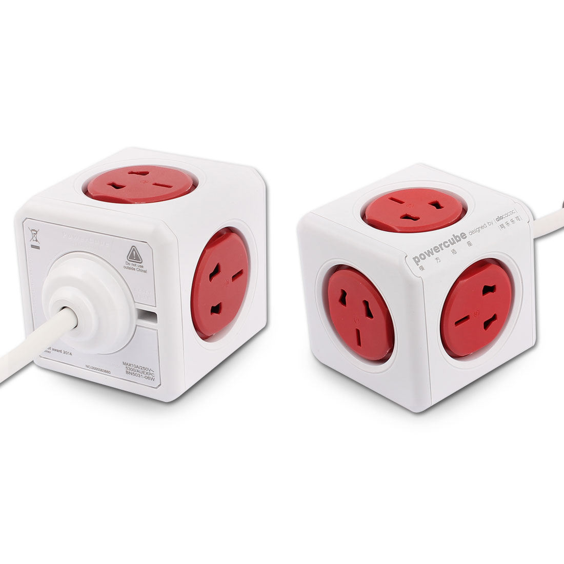 AC 250V AU Plug Desktop Cube Allocator 5 Power AU US Sockets 1.5 Meter Long Cable Red