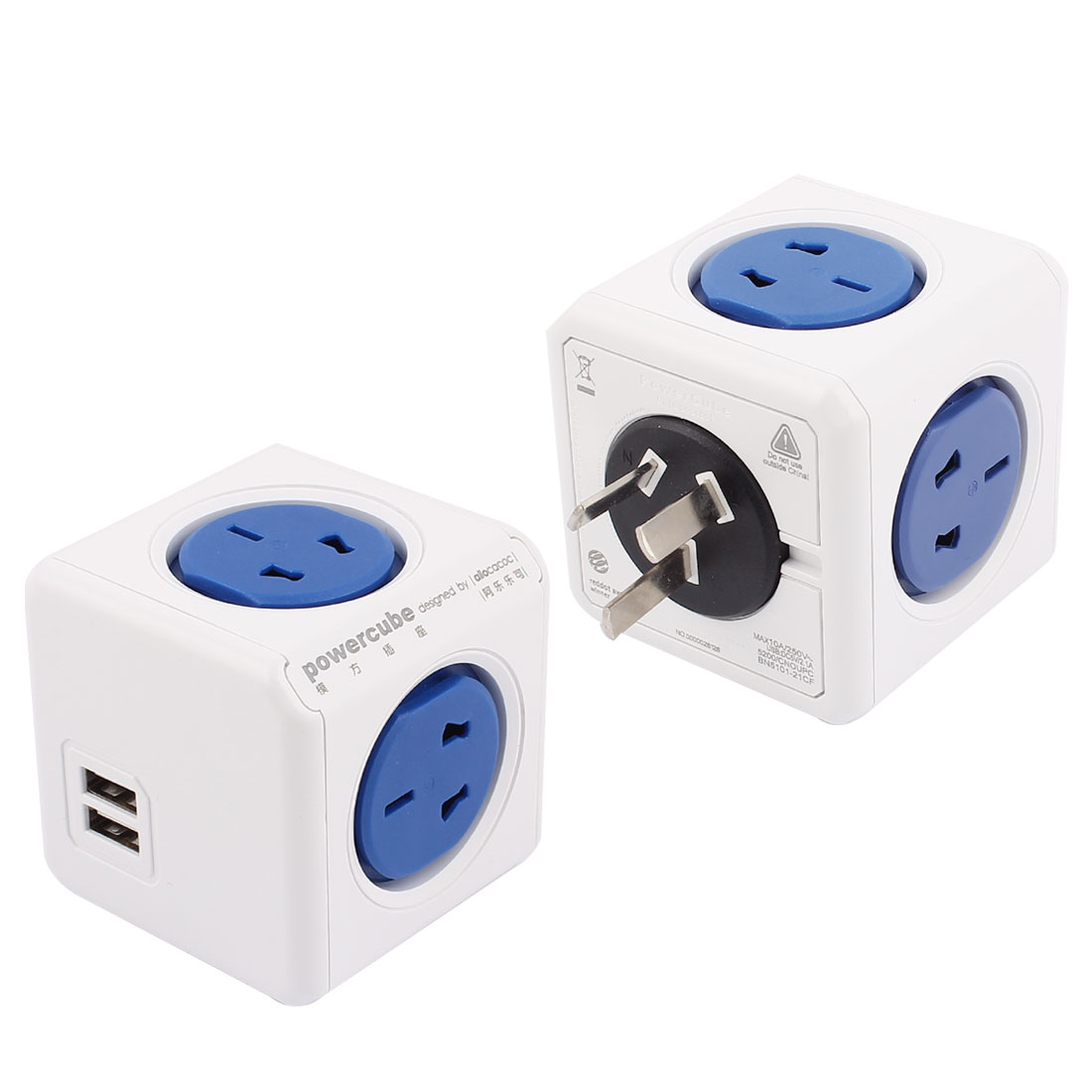 Power Cube Allocator Desktop Charge 4 AU US Sockets 2 USB Ports Charger Blue