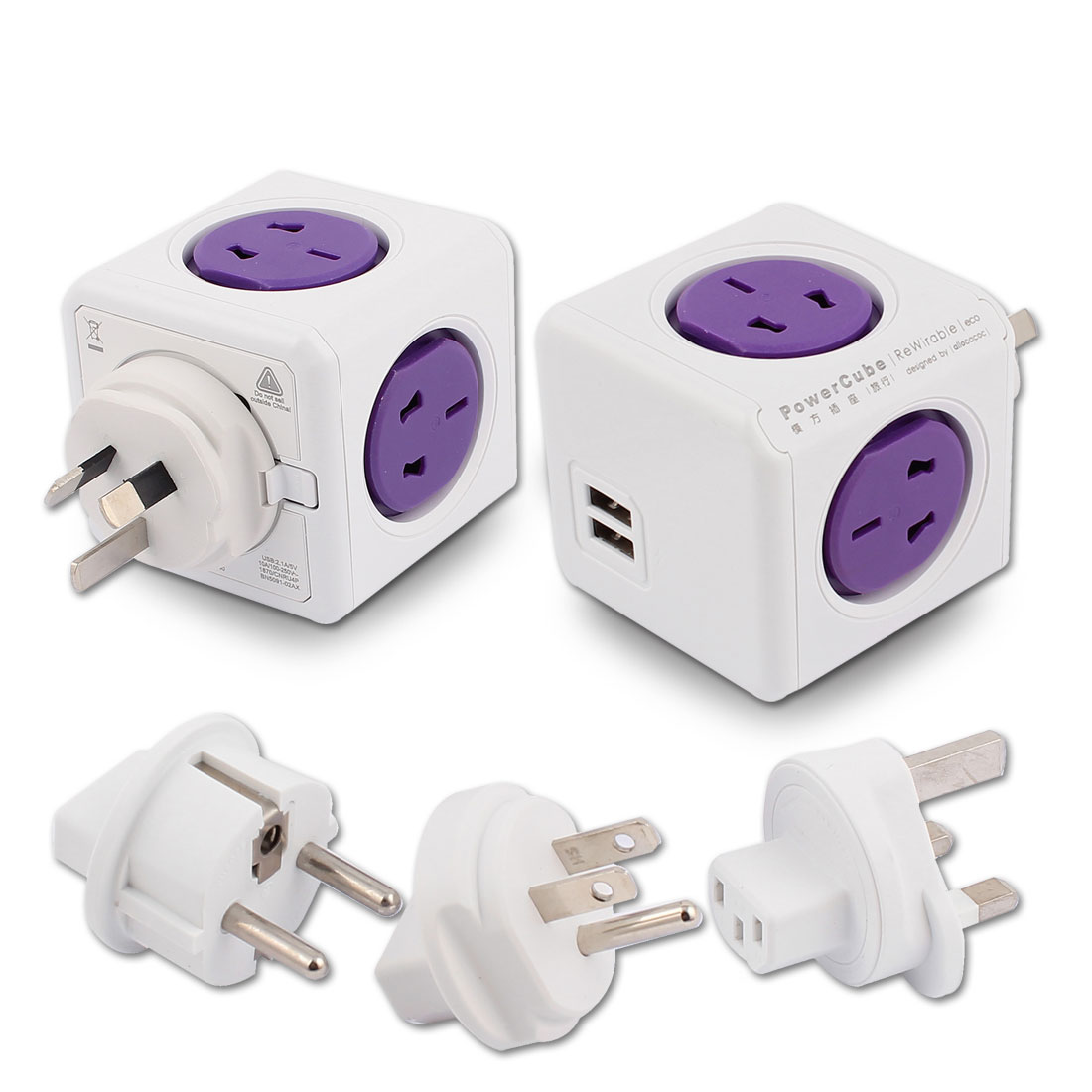 AC 100V-250V AU EU UK US Plug Desktop Cubic Travel 4 Power AU US Sockets 2 USB Violet