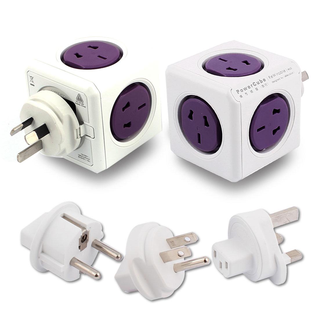 AC 100V-250V AU EU UK US Plug Desktop Cubic Travel 5 Power AU US Sockets Violet