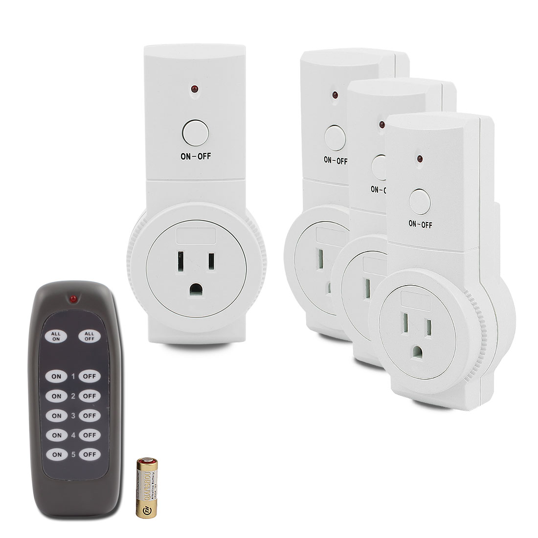 4 Pcs Wireless Power US Sockets Switches Outlets US Plug 120VAC Home Mains w 1 Remote Control