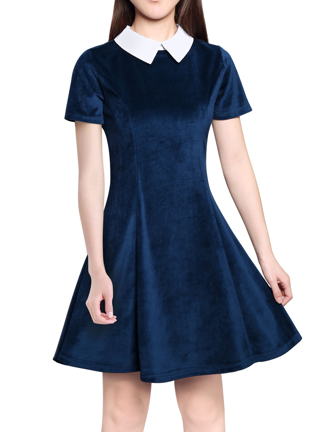 Women Peter Pan Collar Short Sleeves Flare Dress Blue L