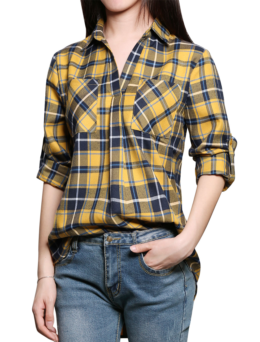 Ladies V Neck High Low Hem Tunic Plaid Shirt Yellow L