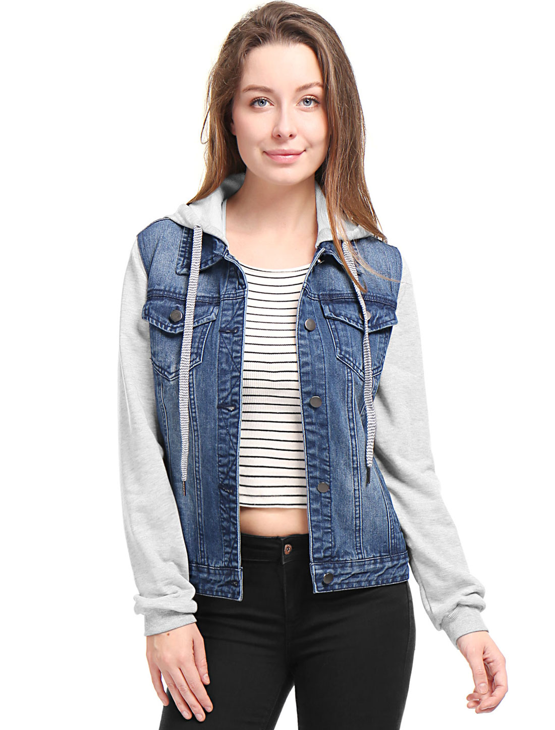 Allegra K Women Layered Long Sleeves Hooded Denim Jacket w Pockets Dark Blue XL