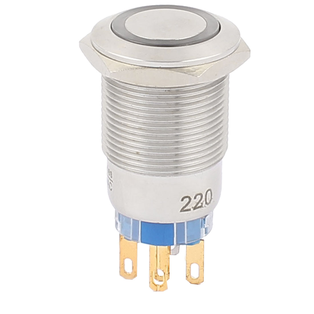 220V 19mm Dia Thread White LED Angle Eyes Momentary Metal Pushbutton Switch
