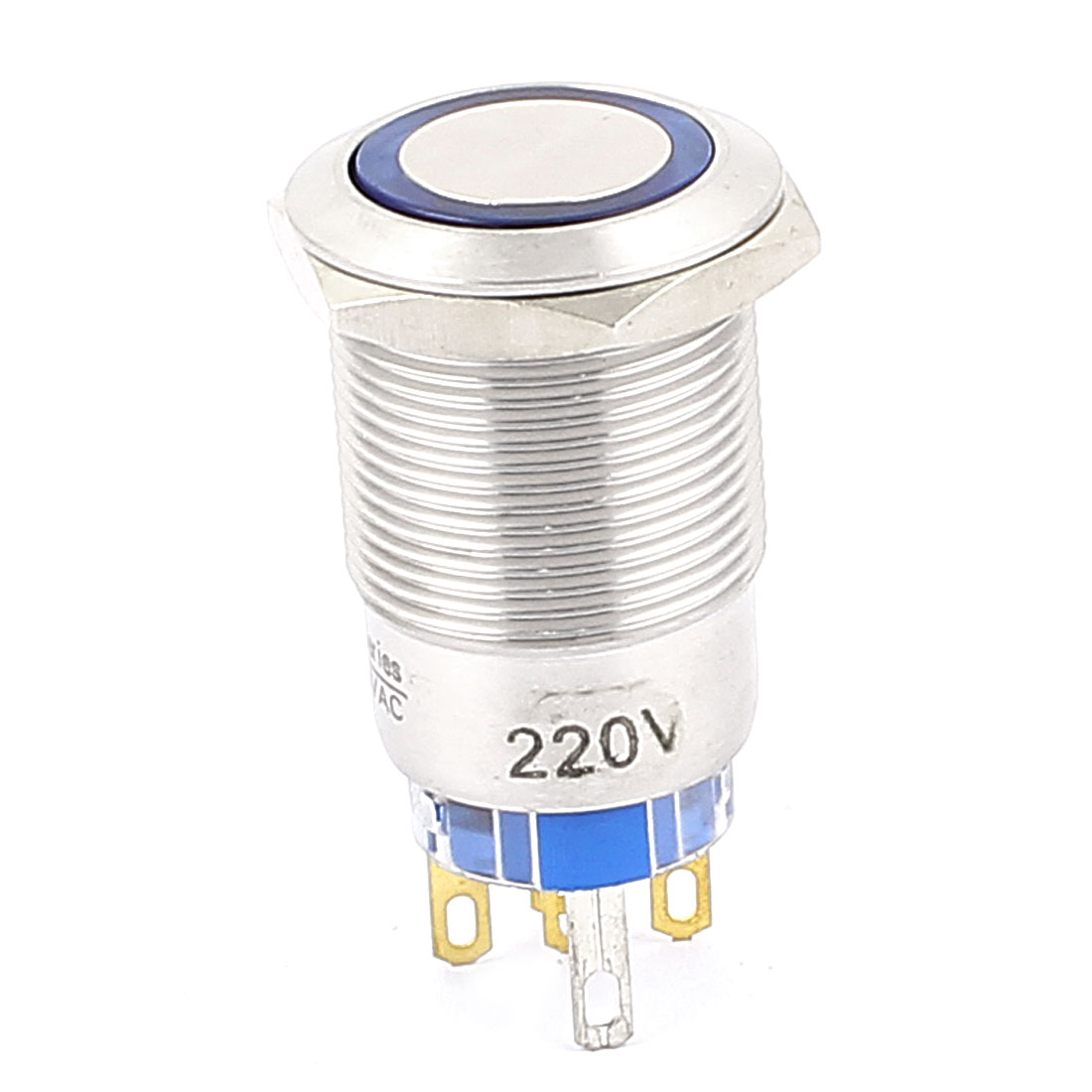220V 19mm Thread Dia Blue LED Angle Eyes Momentary Metal Pushbutton Switch