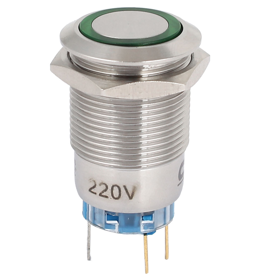 220V 19mm Dia Thread Green LED Angle Eyes Momentary Metal Pushbutton Switch