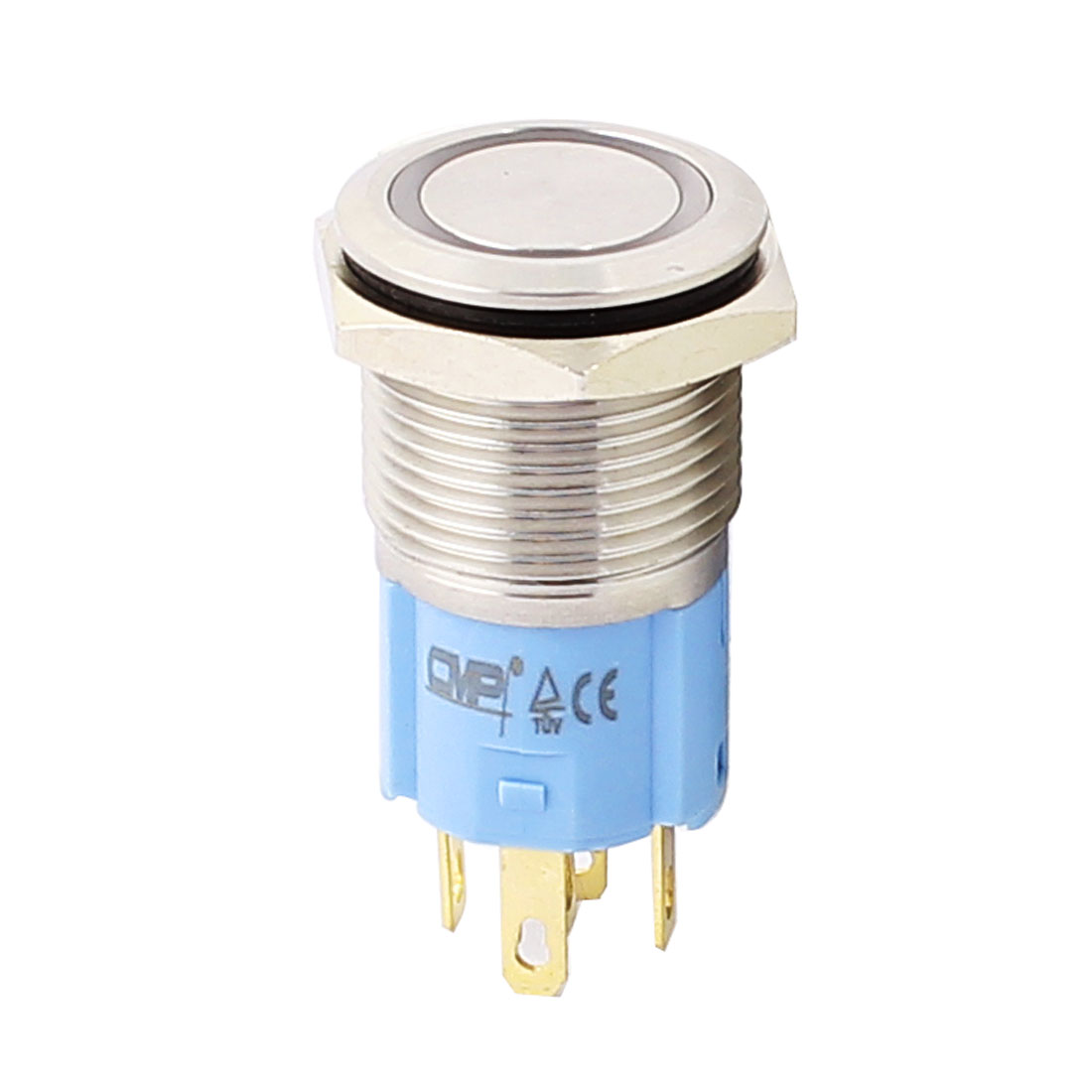 12V 16mm Thread Dia White LED Angle Eyes Momentary Metal Pushbutton Switch