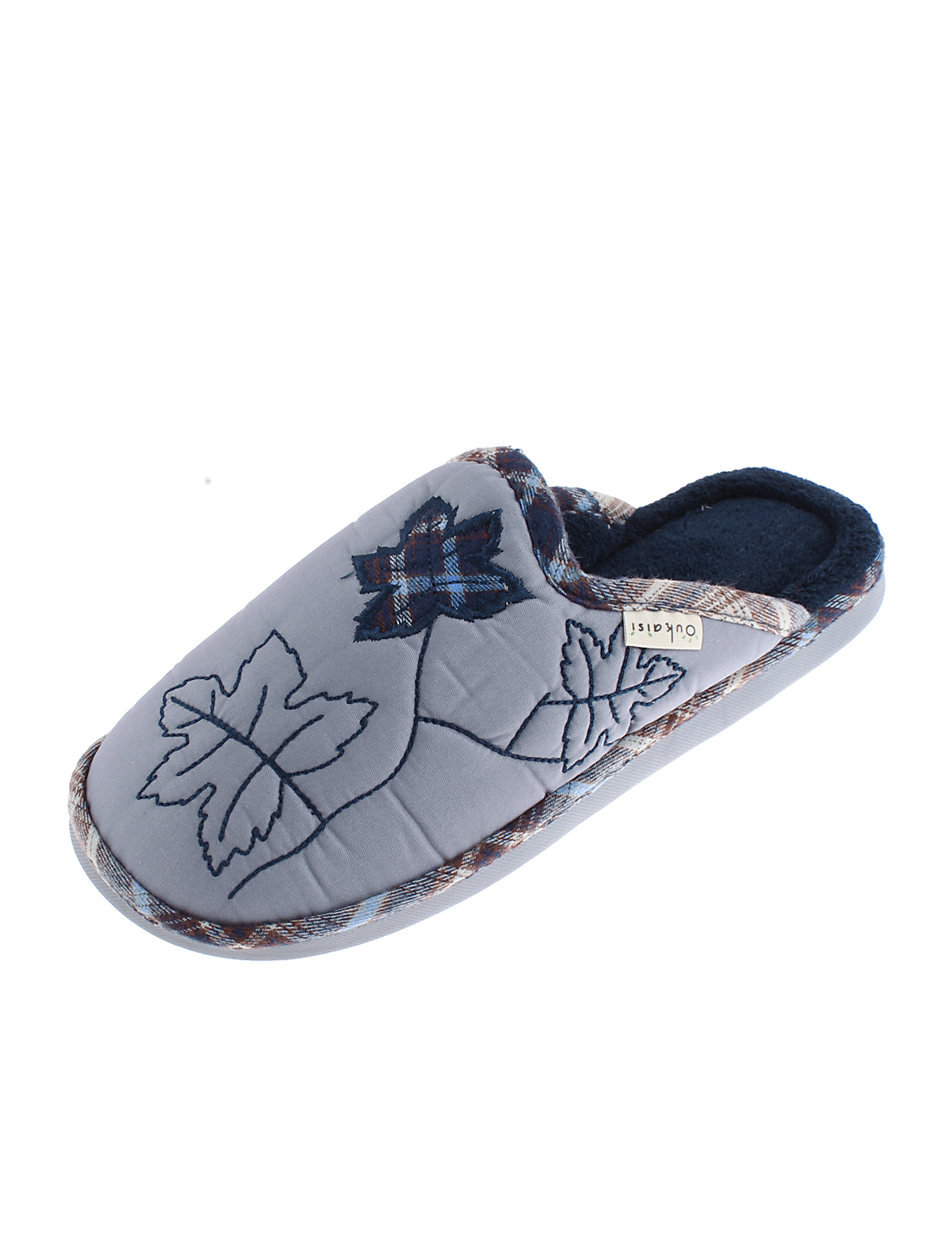 Ladies Maple Leaf Pattern Casual Warmer Cotton Slippers Blue US 9.5