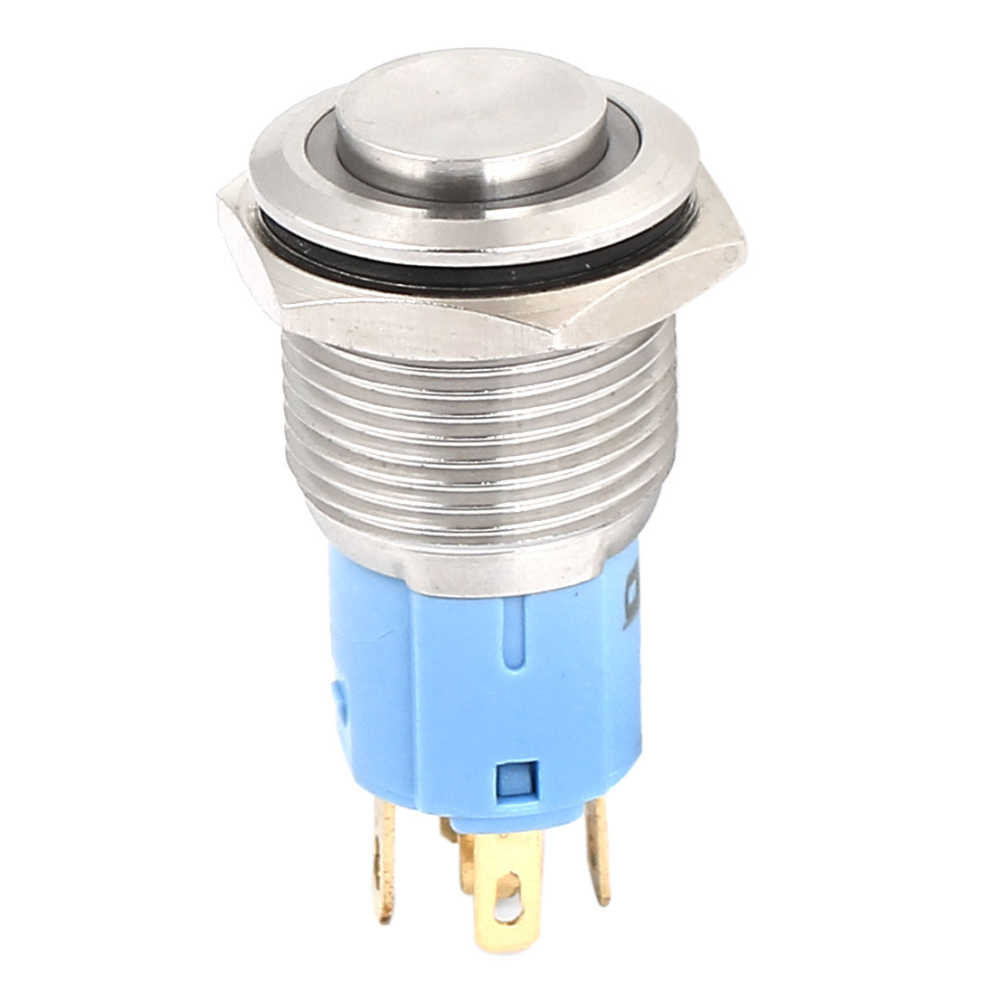 12V 16mm Dia White LED Angle Eyes Momentary Metal Pushbutton Switch Raised Top