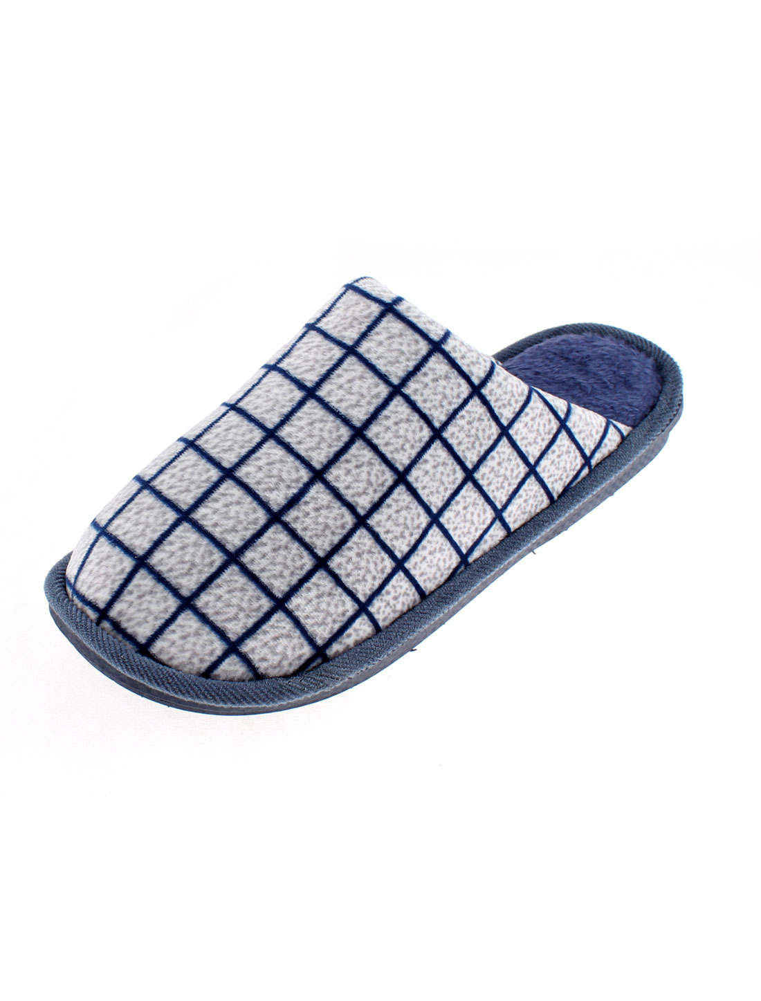 Women Grid Pattern Non-skid Casual Warmer Cotton Slippers Blue US 10.5