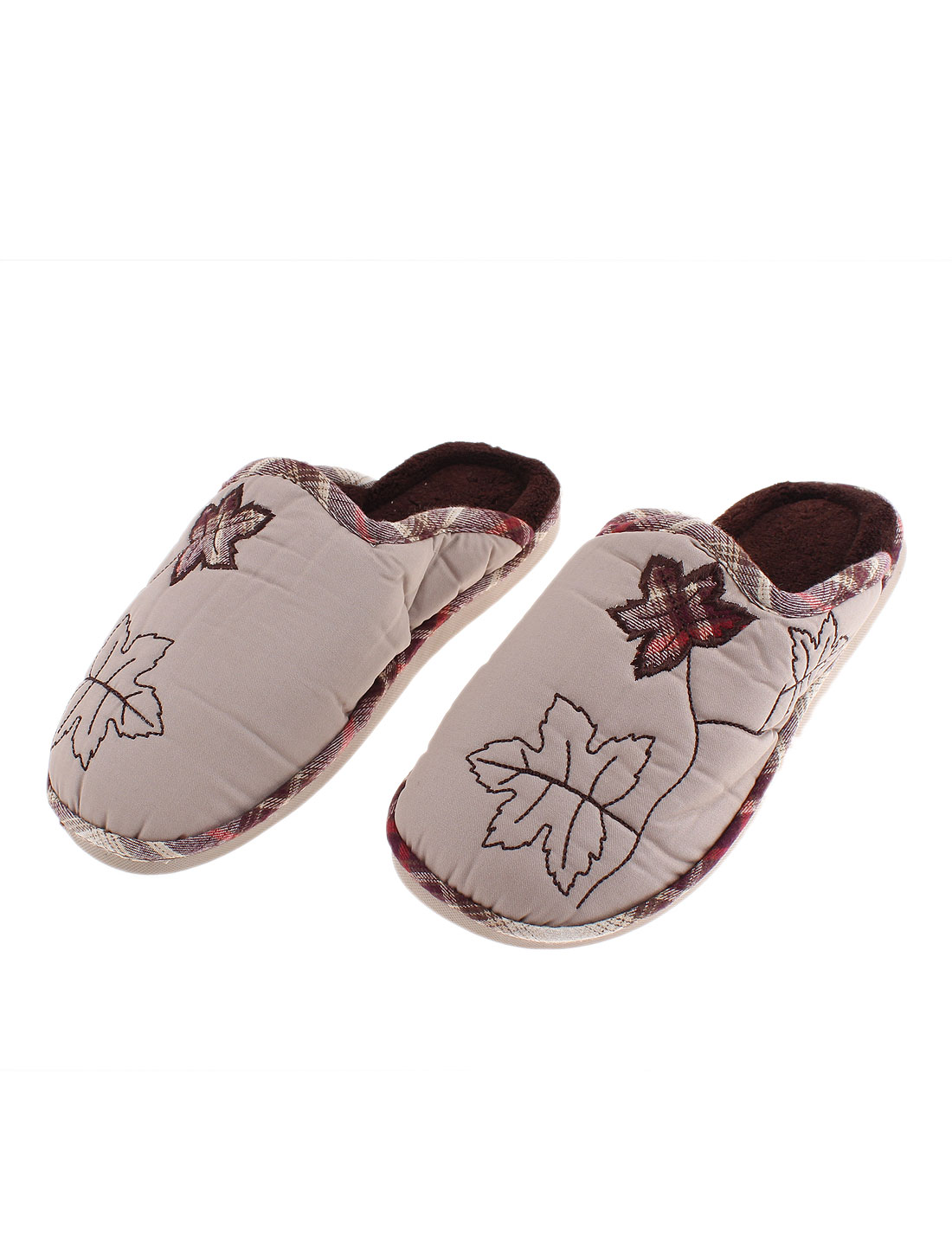 Ladies Maple Leaf Pattern Casual Warmer Cotton Slippers Brown US 8.5