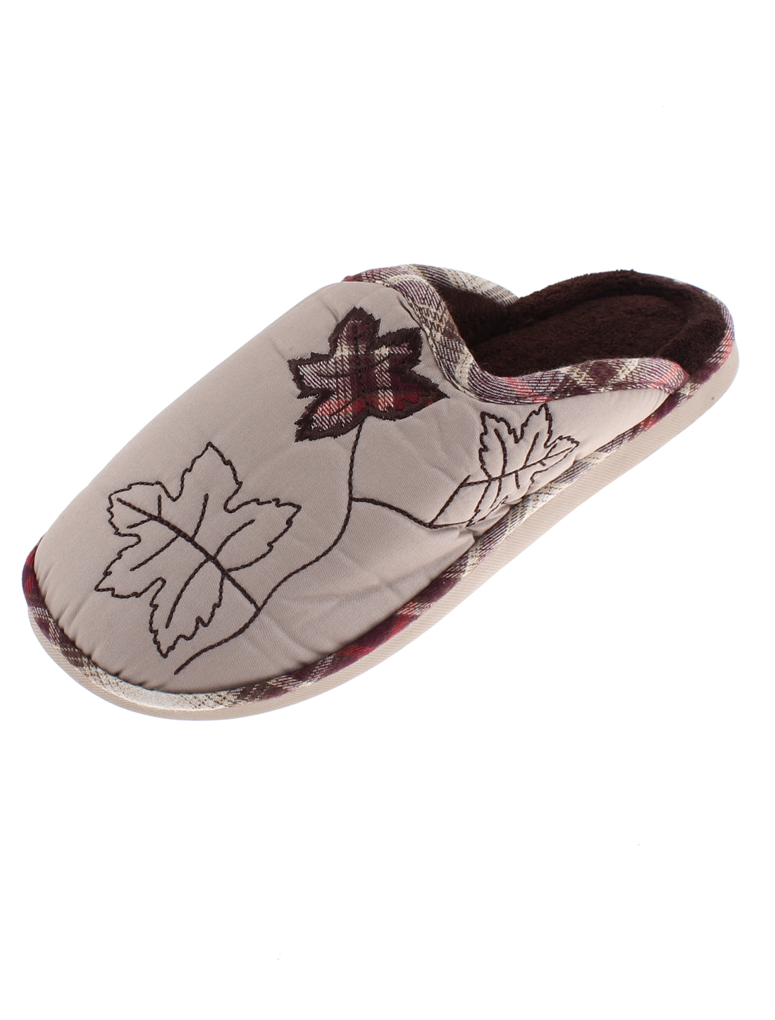 Ladies Maple Leaf Pattern Casual Warmer Cotton Slippers Brown US 9.5