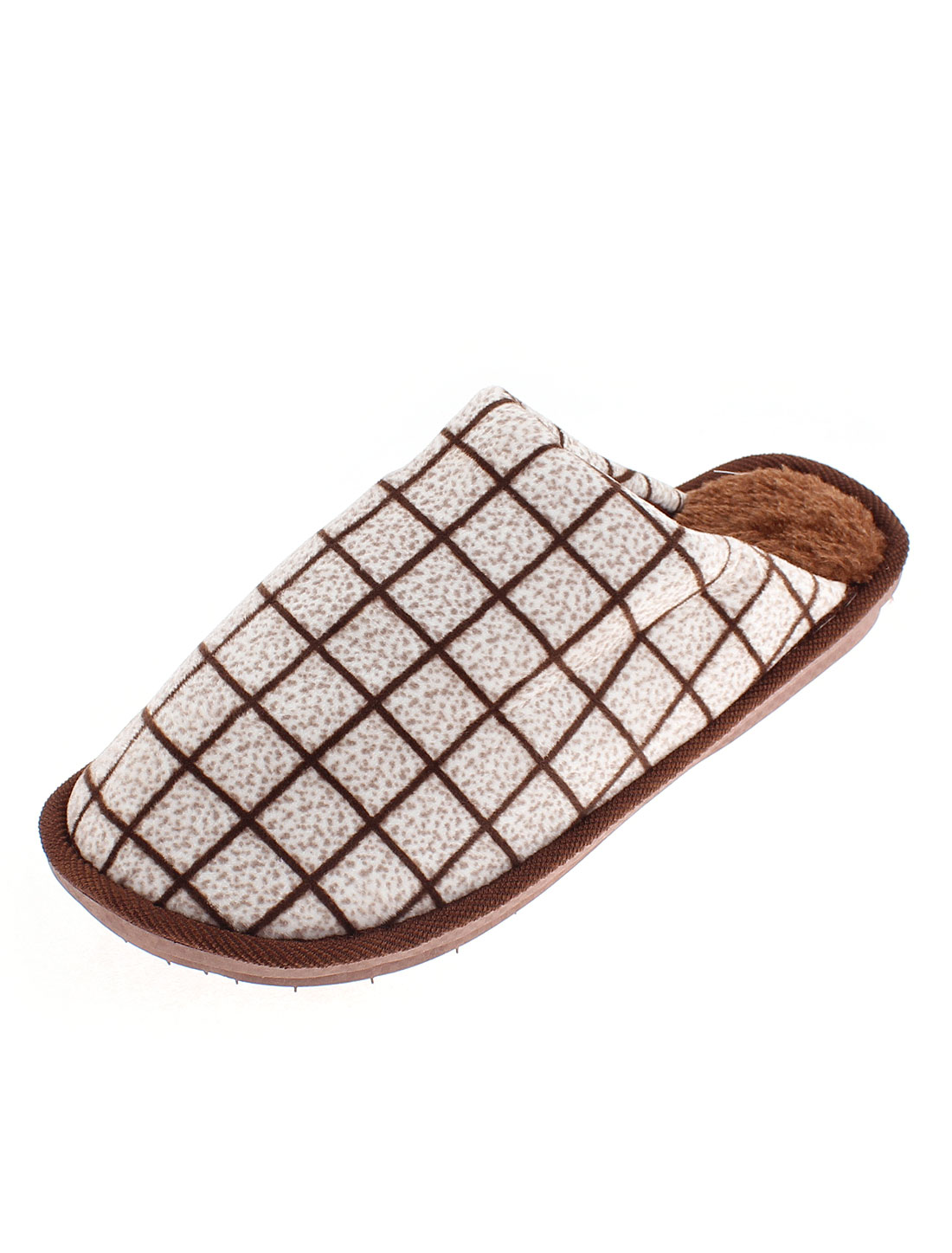 Women Grid Pattern Non-skid Casual Warmer Cotton Slippers Chocolate Color US 9