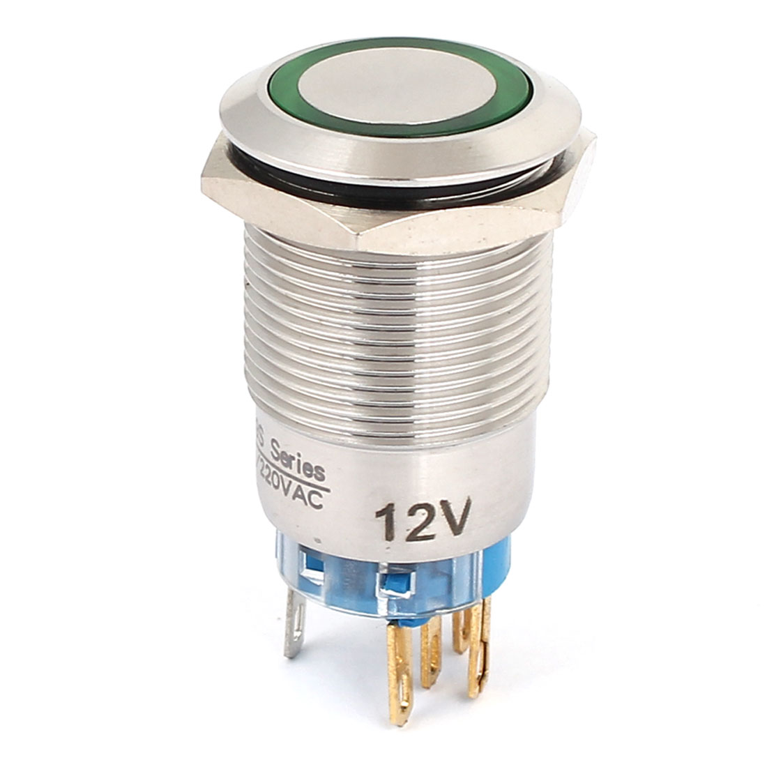 12V 19mm Dia Thread Green LED Angle Eyes Momentary Metal Pushbutton Switch