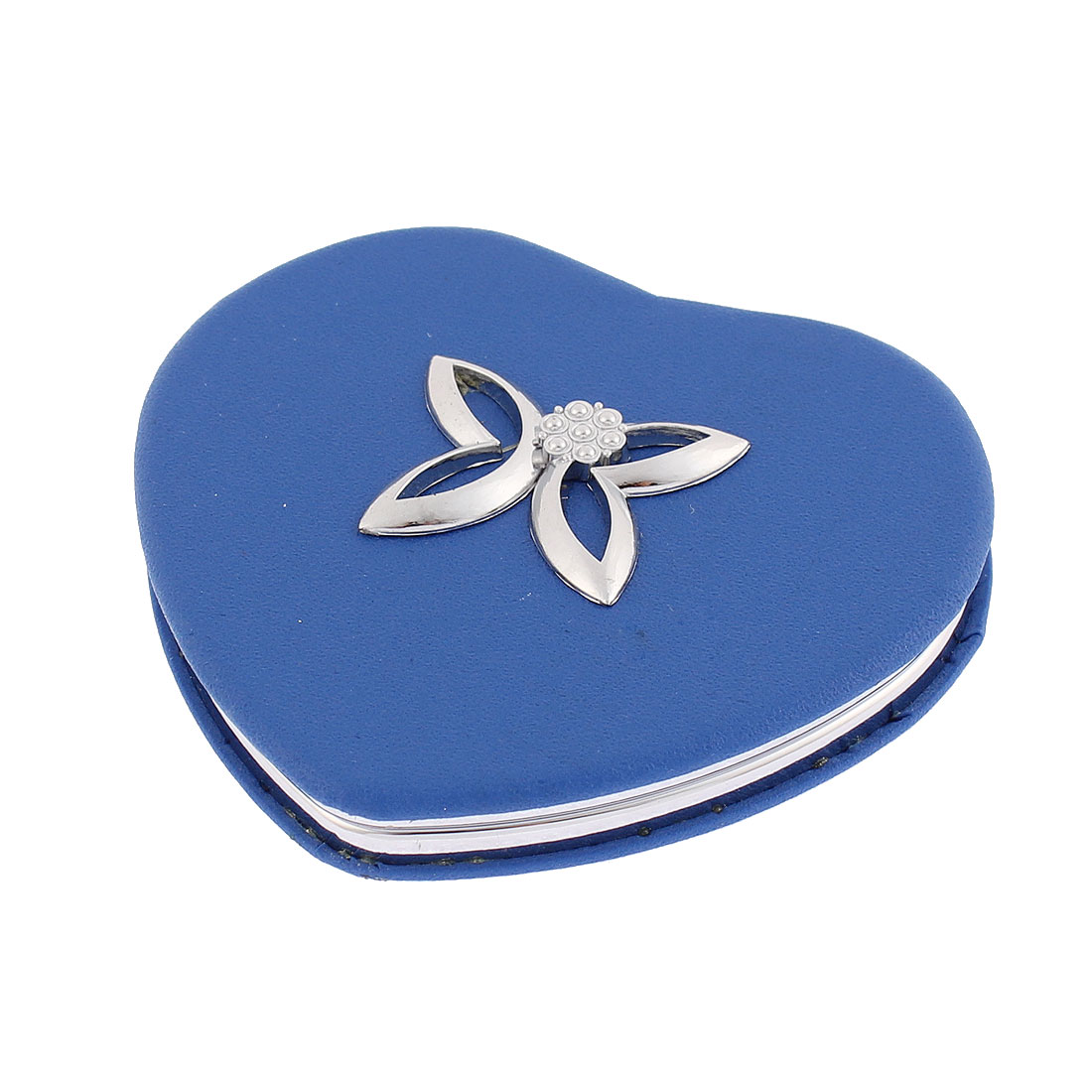 Heart Design Flower Detail Double Side Magnify Cosmetic Compact Mirror Blue