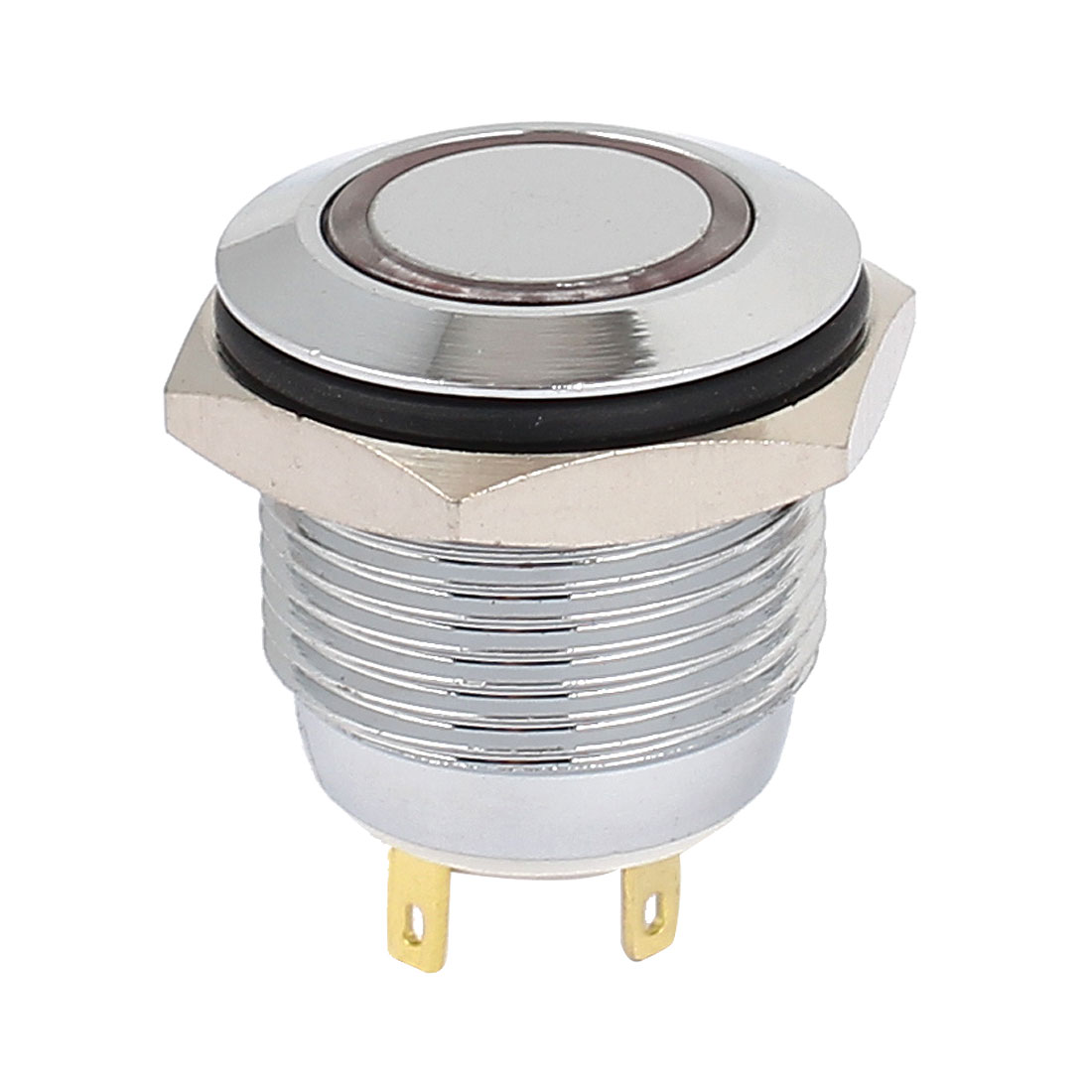 3V 16mm Dia Red LED Lamp Chromium Plated Brass Momentary Pushbutton Switch