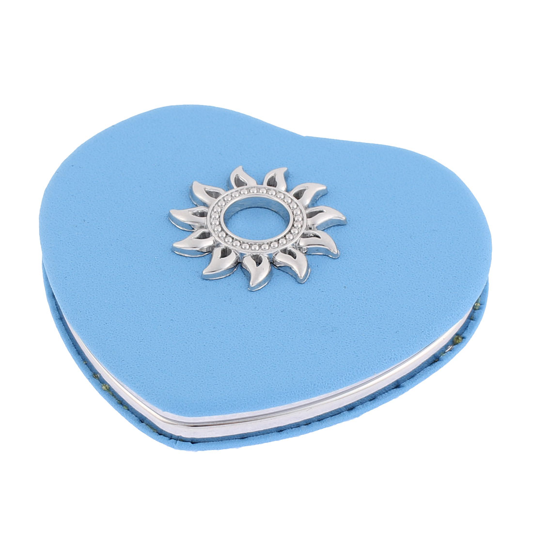Heart Shaped Sunflower Detailing Magnify Cosmetic Compact Mirror Light Blue