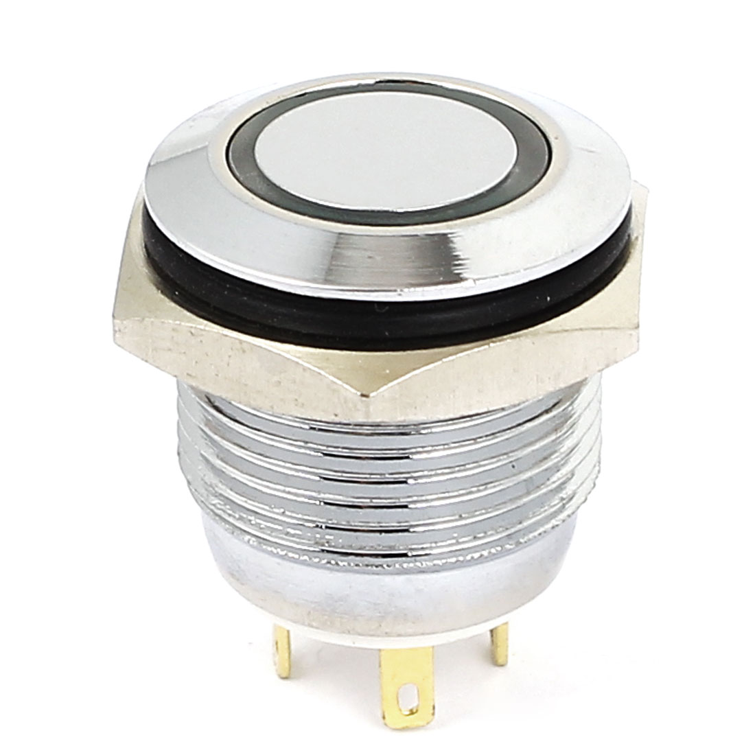3V 16mm Dia Green LED Lamp Chromium Plated Brass Momentary Pushbutton Switch