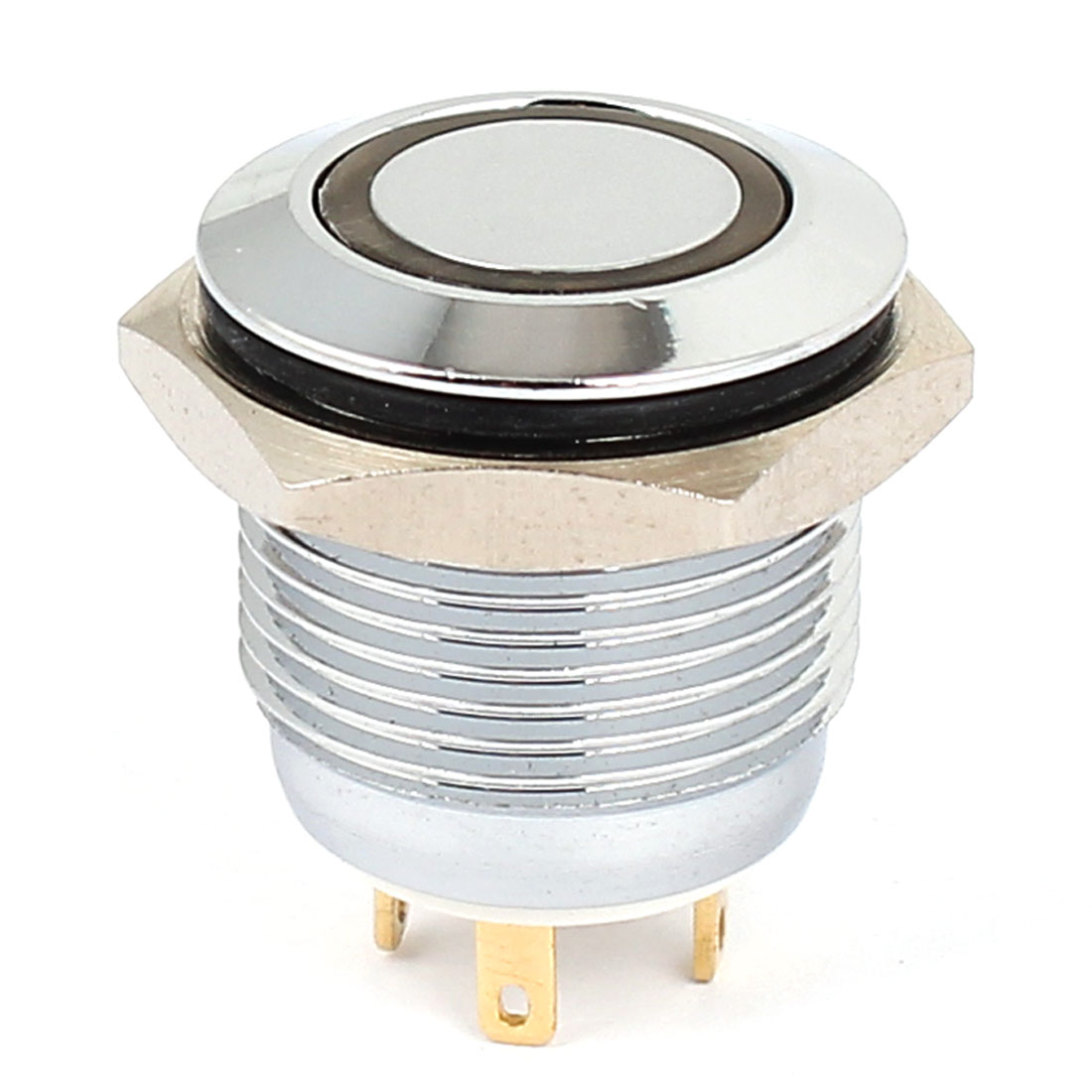 3V 16mm Dia White LED Lamp Chromium Plated Brass Momentary Pushbutton Switch
