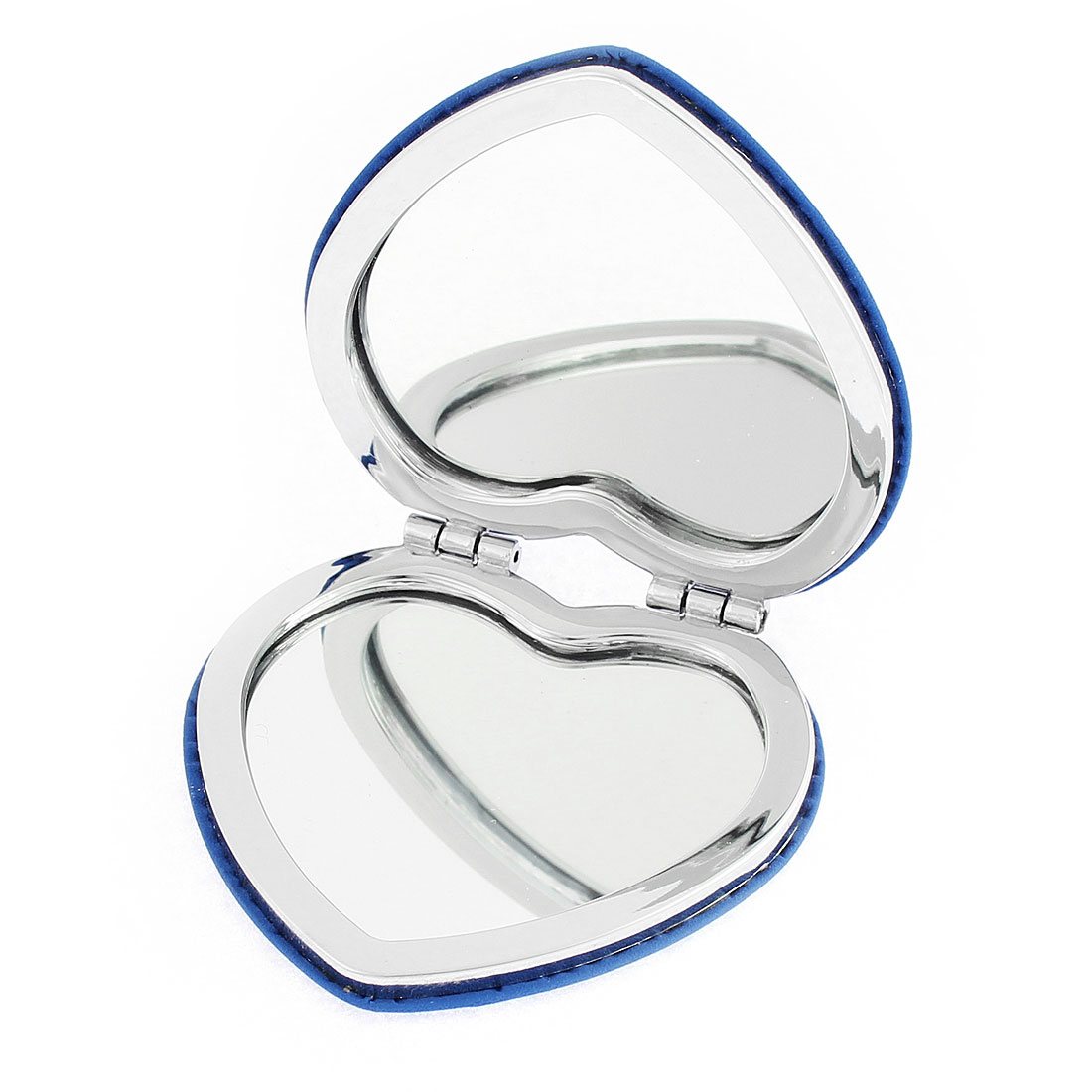 Heart Shaped Flower Detail Folding Cosmetic Compact Mirror Makeup Tool Blue