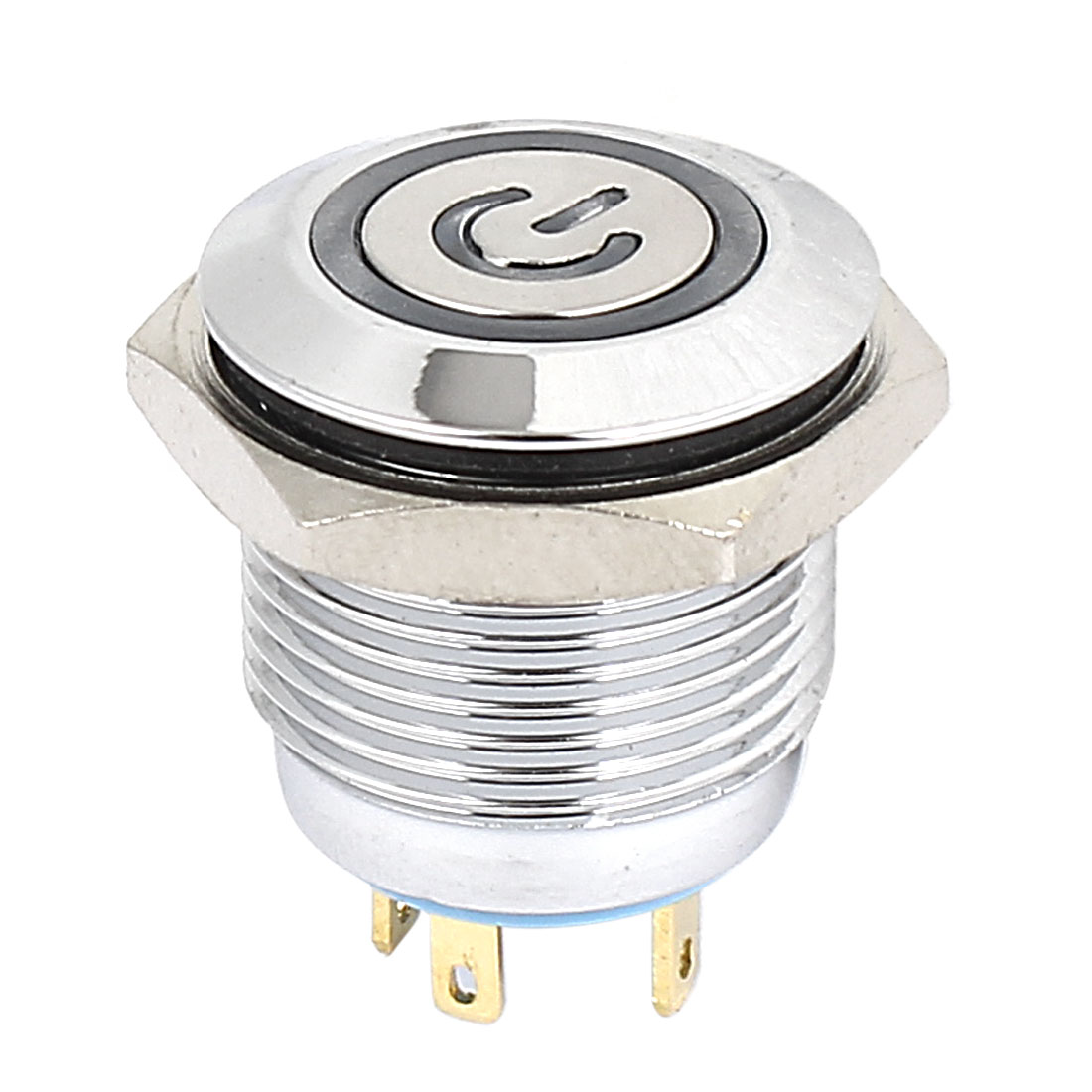 3V 16mm Dia Blue LED Lamp Chromium Plated Momentary Power Pushbutton Switch