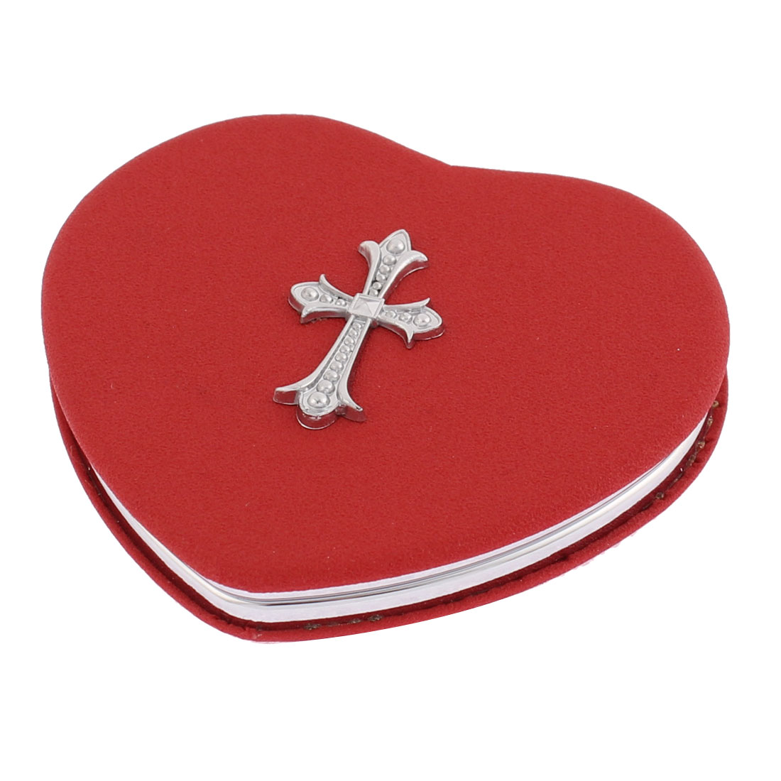 Heart Shaped Cross Decor Double Side Magnifying Cosmetic Compact Mirror Red