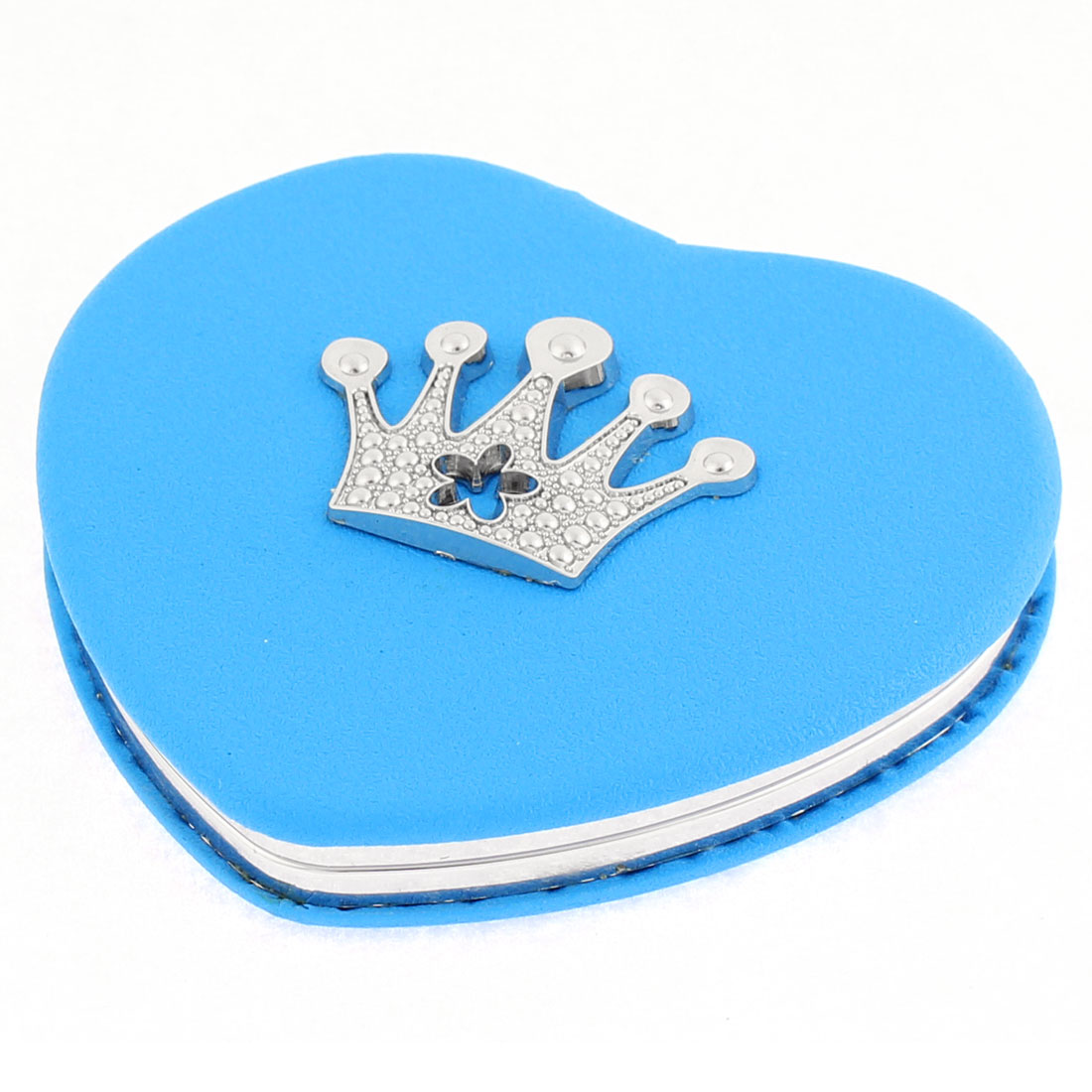 Heart Shaped Crown Decor Double Side Magnifying Cosmetic Compact Mirror Blue
