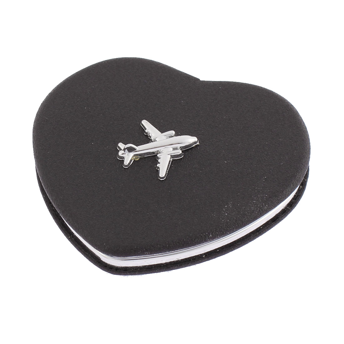 Heart Shaped Airplane Decor Double Side Folding Cosmetic Compact Mirror