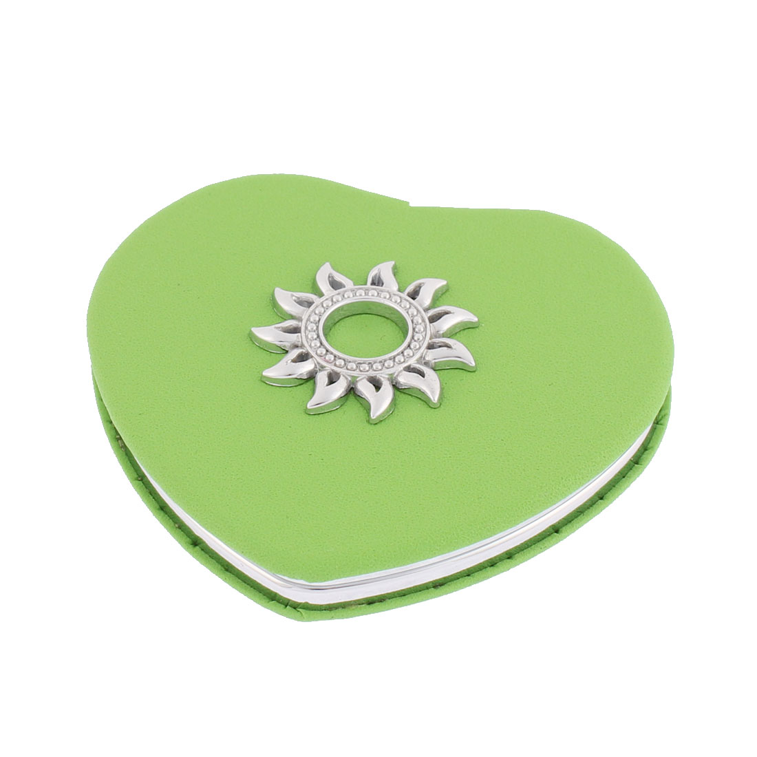 Heart Shaped Sunflower Detailing Magnify Folding Cosmetic Compact Mirror Green